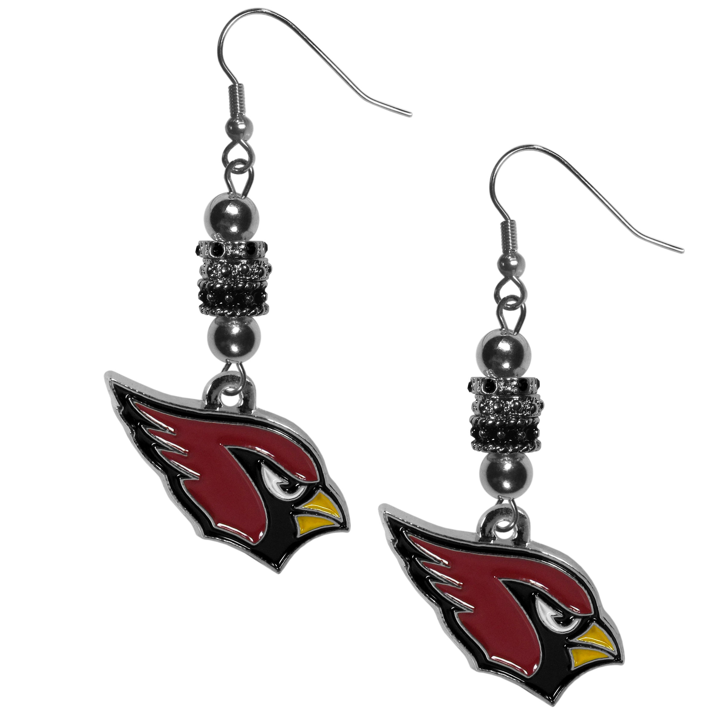 Arizona Cardinals Euro Bead Earrings - These beautiful euro style earrings feature 3 euro beads and a detailed Arizona Cardinals charm on hypoallergenic fishhook posts.