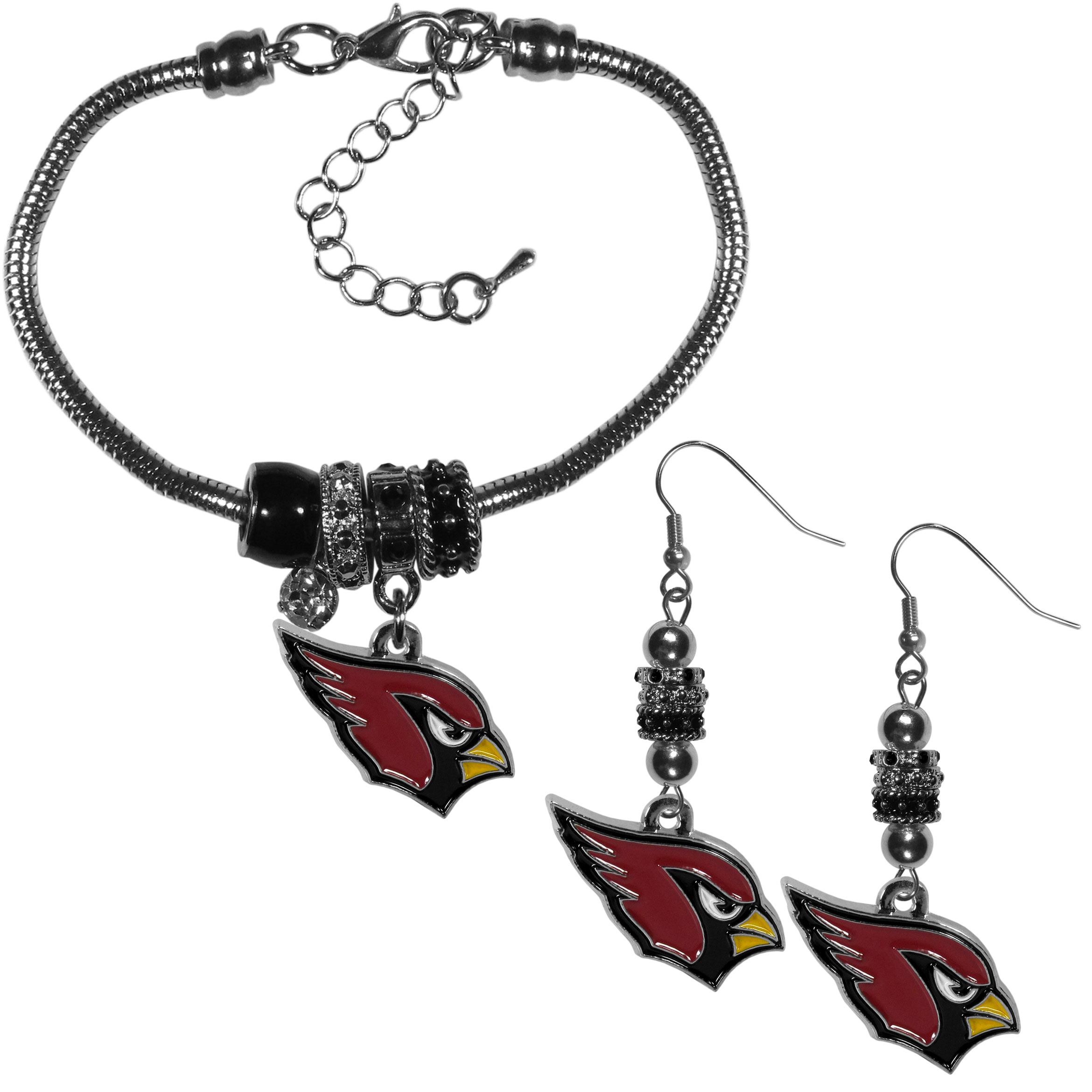 Arizona Cardinals Euro Bead Earrings and Bracelet Set - We combine the popular Euro bead style with your love of the Arizona Cardinals with this beautiful jewelry set that includes earrings and a matching bracelet. The stylish earrings feature hypoallergenic, nickel free fishhook posts and 3 team colored Euro beads and a metal team charm. The matching snake chain bracelet is 7.5 inches long with a 2 inch extender and 4 Euro beads with a rhinestone charm and team charm.