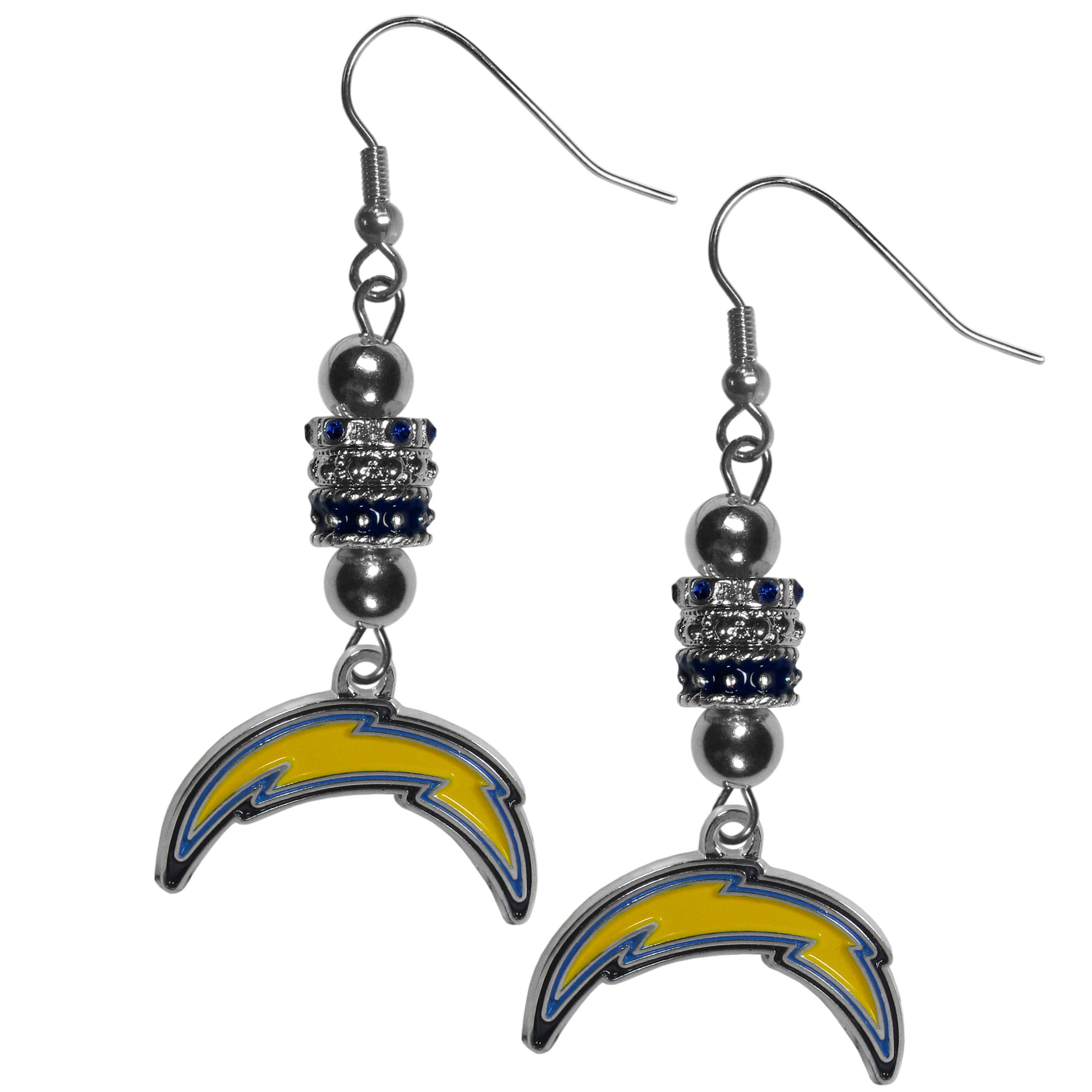 Los Angeles Chargers Euro Bead Earrings - These beautiful euro style earrings feature 3 euro beads and a detailed Los Angeles Chargers charm on hypoallergenic fishhook posts.