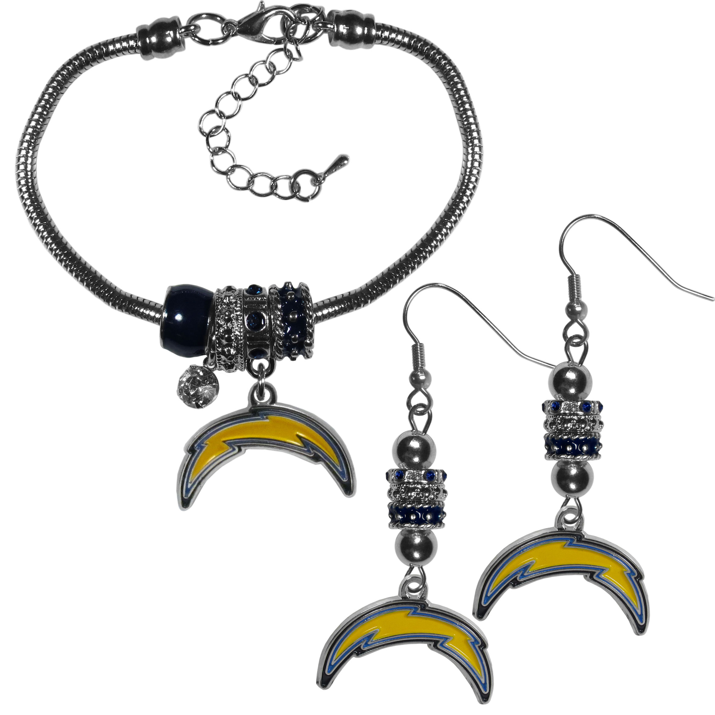 Los Angeles Chargers Euro Bead Earrings and Bracelet Set - We combine the popular Euro bead style with your love of the Los Angeles Chargers with this beautiful jewelry set that includes earrings and a matching bracelet. The stylish earrings feature hypoallergenic, nickel free fishhook posts and 3 team colored Euro beads and a metal team charm. The matching snake chain bracelet is 7.5 inches long with a 2 inch extender and 4 Euro beads with a rhinestone charm and team charm.