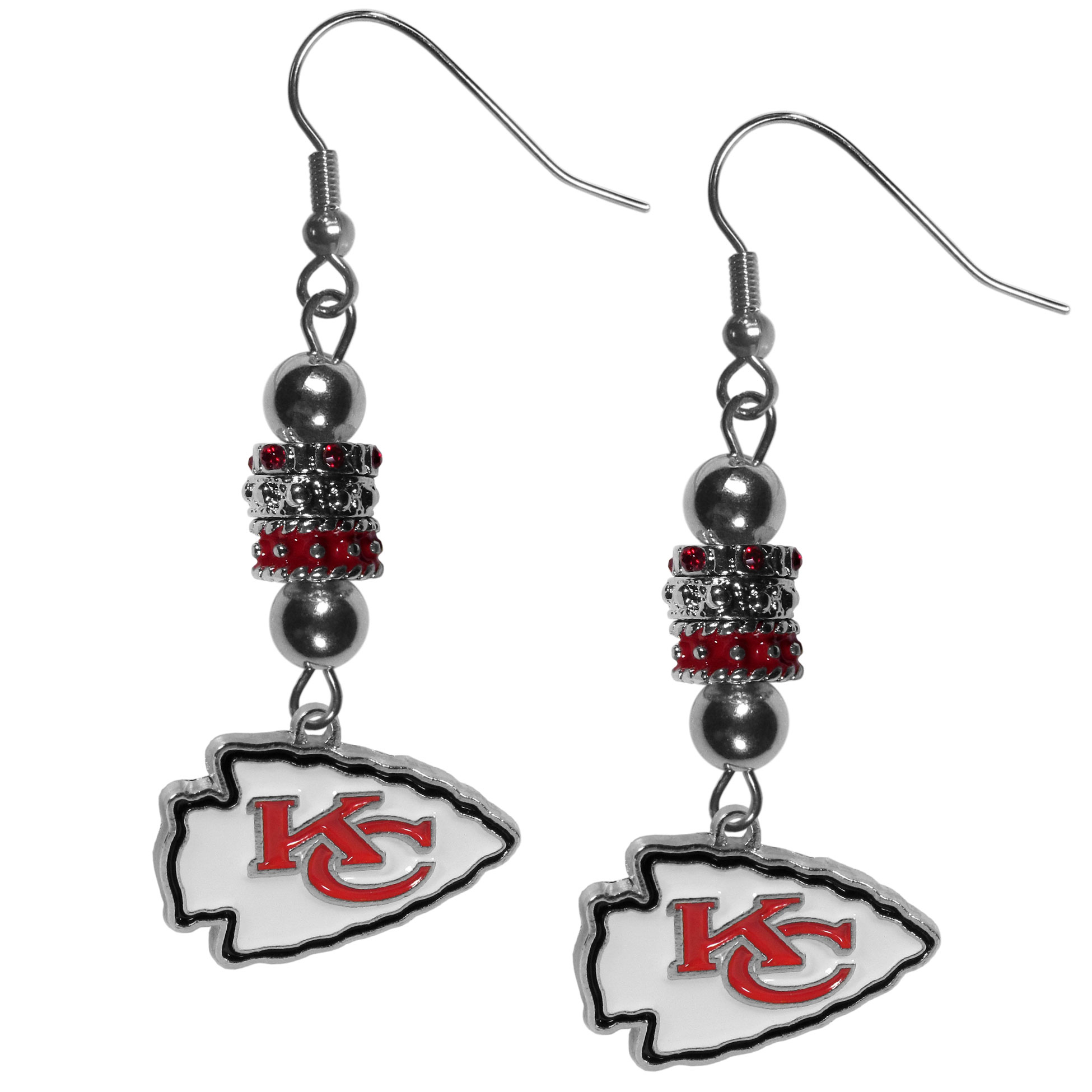 Kansas City Chiefs Euro Bead Earrings - These beautiful euro style earrings feature 3 euro beads and a detailed Kansas City Chiefs charm on hypoallergenic fishhook posts.