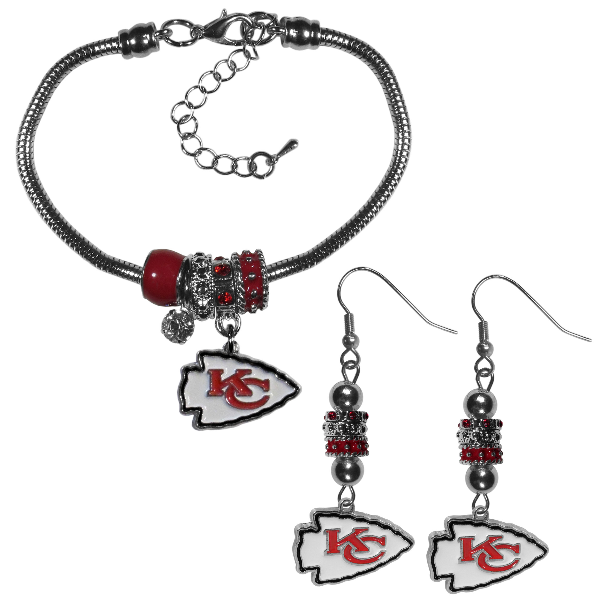 Kansas City Chiefs Euro Bead Earrings and Bracelet Set - We combine the popular Euro bead style with your love of the Kansas City Chiefs with this beautiful jewelry set that includes earrings and a matching bracelet. The stylish earrings feature hypoallergenic, nickel free fishhook posts and 3 team colored Euro beads and a metal team charm. The matching snake chain bracelet is 7.5 inches long with a 2 inch extender and 4 Euro beads with a rhinestone charm and team charm.