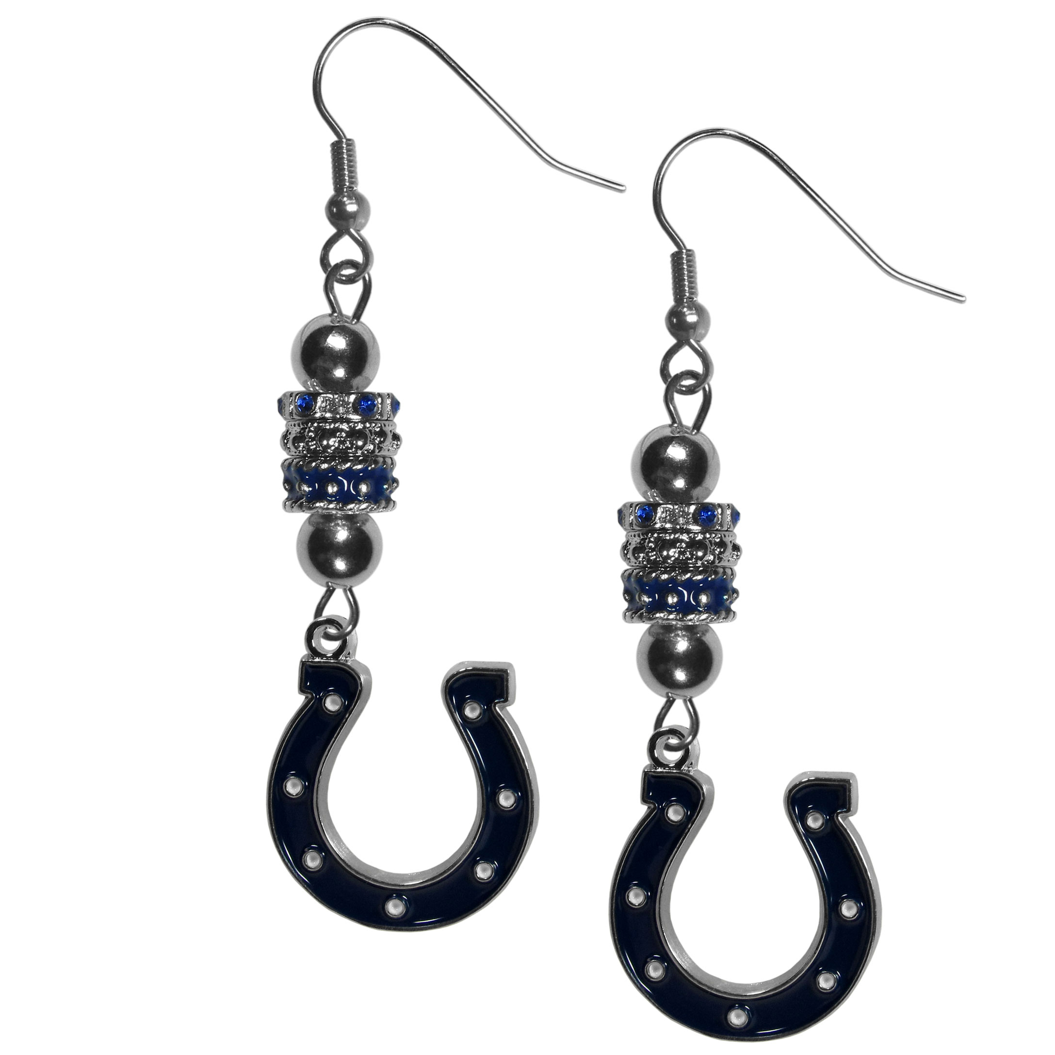 Indianapolis Colts Euro Bead Earrings - These beautiful euro style earrings feature 3 euro beads and a detailed Indianapolis Colts charm on hypoallergenic fishhook posts.