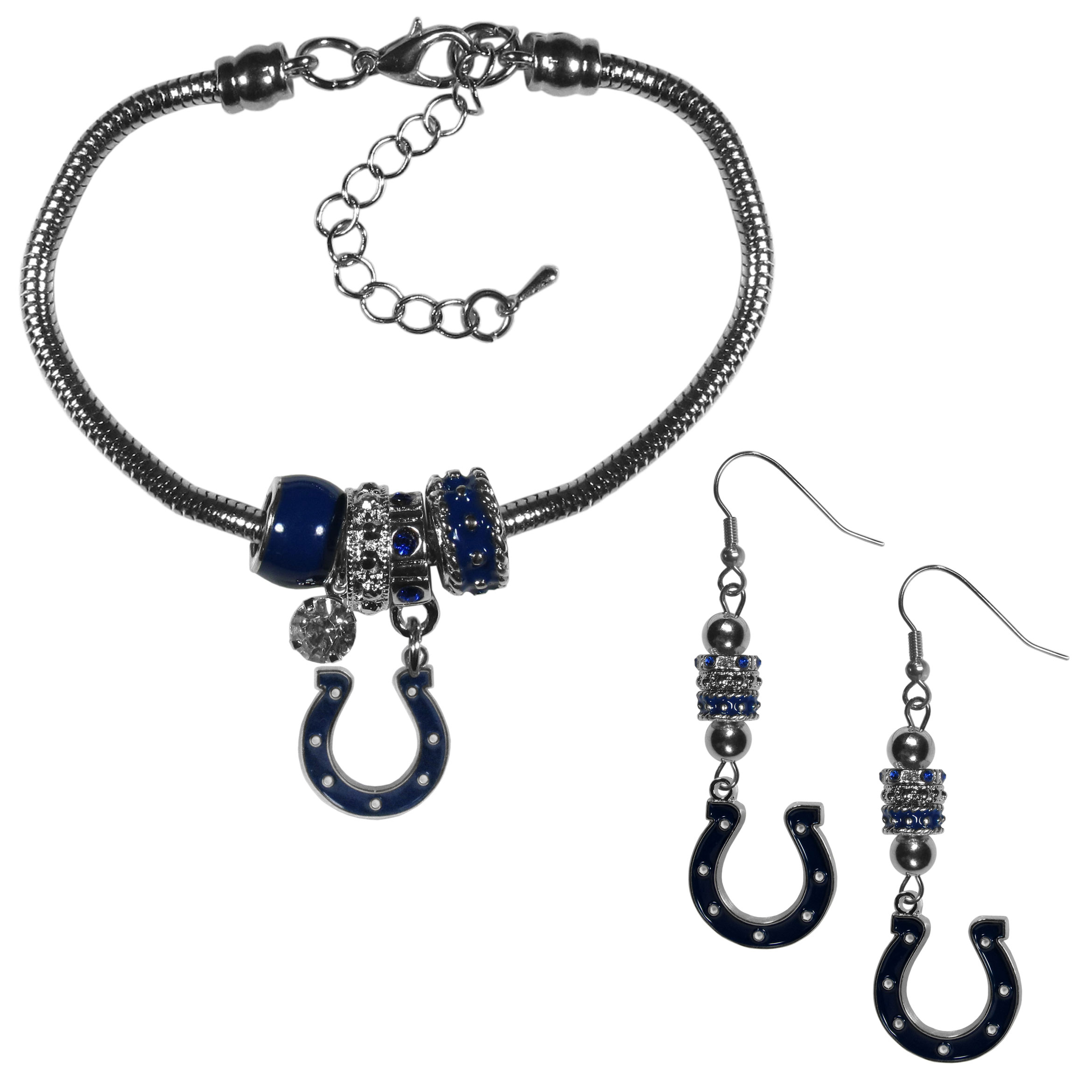 Indianapolis Colts Euro Bead Earrings and Bracelet Set - We combine the popular Euro bead style with your love of the Indianapolis Colts with this beautiful jewelry set that includes earrings and a matching bracelet. The stylish earrings feature hypoallergenic, nickel free fishhook posts and 3 team colored Euro beads and a metal team charm. The matching snake chain bracelet is 7.5 inches long with a 2 inch extender and 4 Euro beads with a rhinestone charm and team charm.