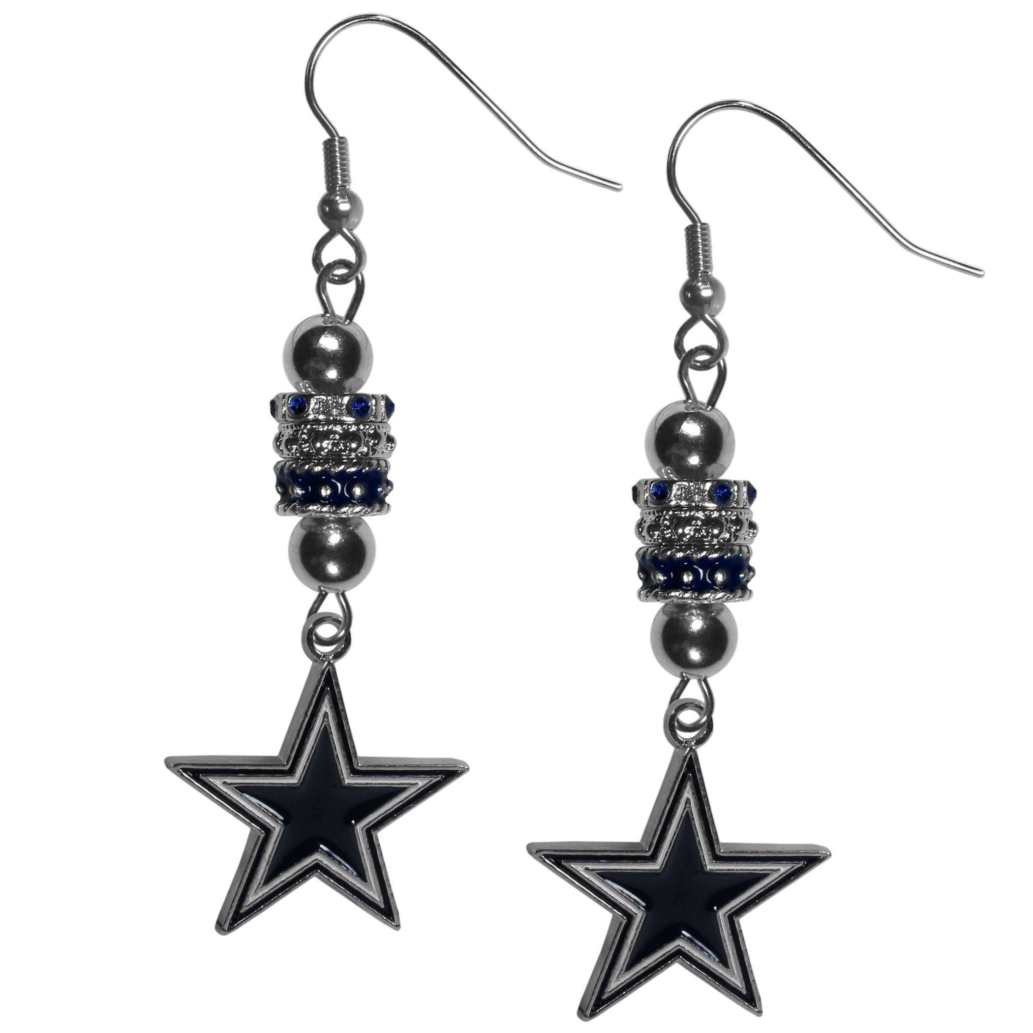 Dallas Cowboys Euro Bead Earrings - These beautiful euro style earrings feature 3 euro beads and a detailed Dallas Cowboys charm on hypoallergenic fishhook posts.