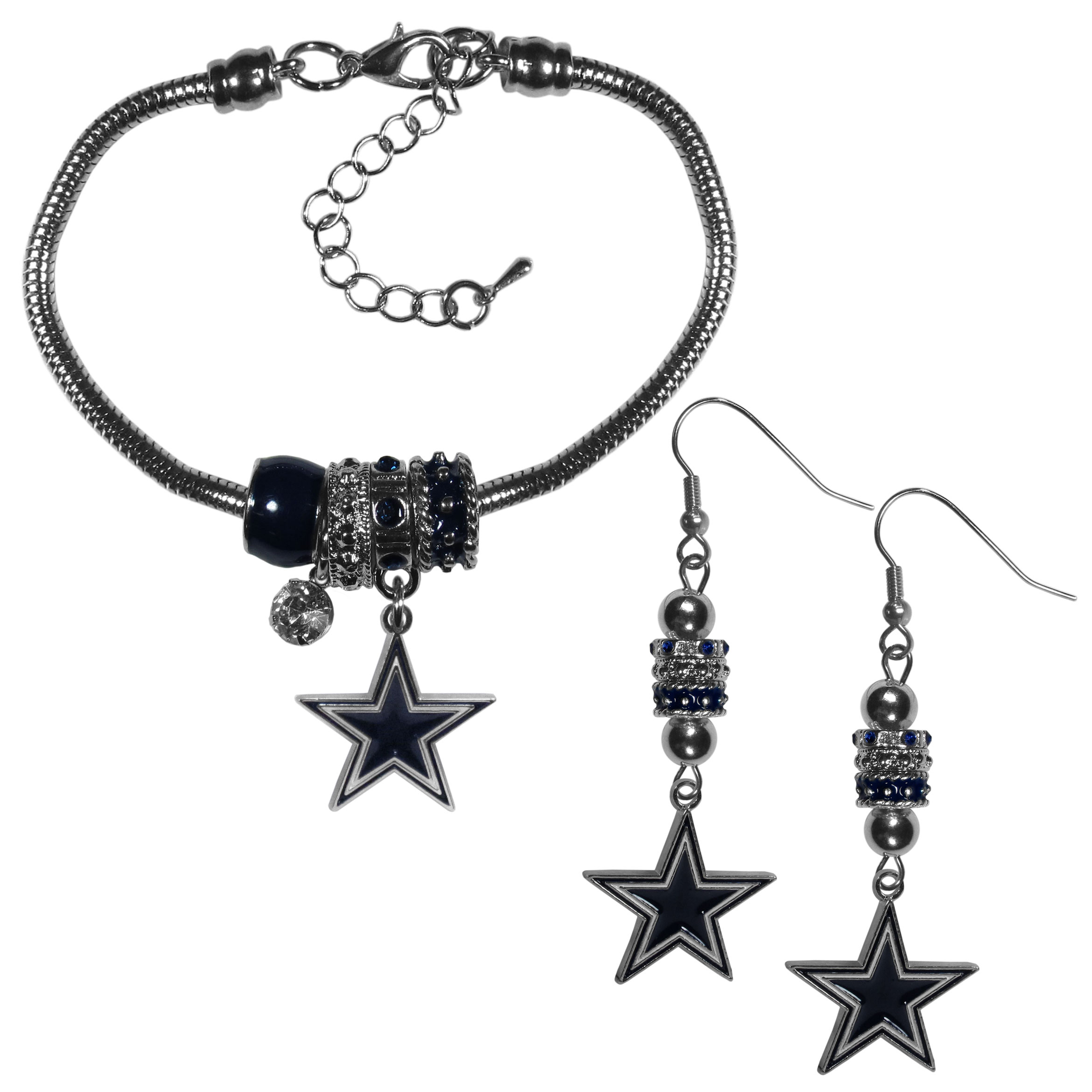 Dallas Cowboys Euro Bead Earrings and Bracelet Set - We combine the popular Euro bead style with your love of the Dallas Cowboys with this beautiful jewelry set that includes earrings and a matching bracelet. The stylish earrings feature hypoallergenic, nickel free fishhook posts and 3 team colored Euro beads and a metal team charm. The matching snake chain bracelet is 7.5 inches long with a 2 inch extender and 4 Euro beads with a rhinestone charm and team charm.