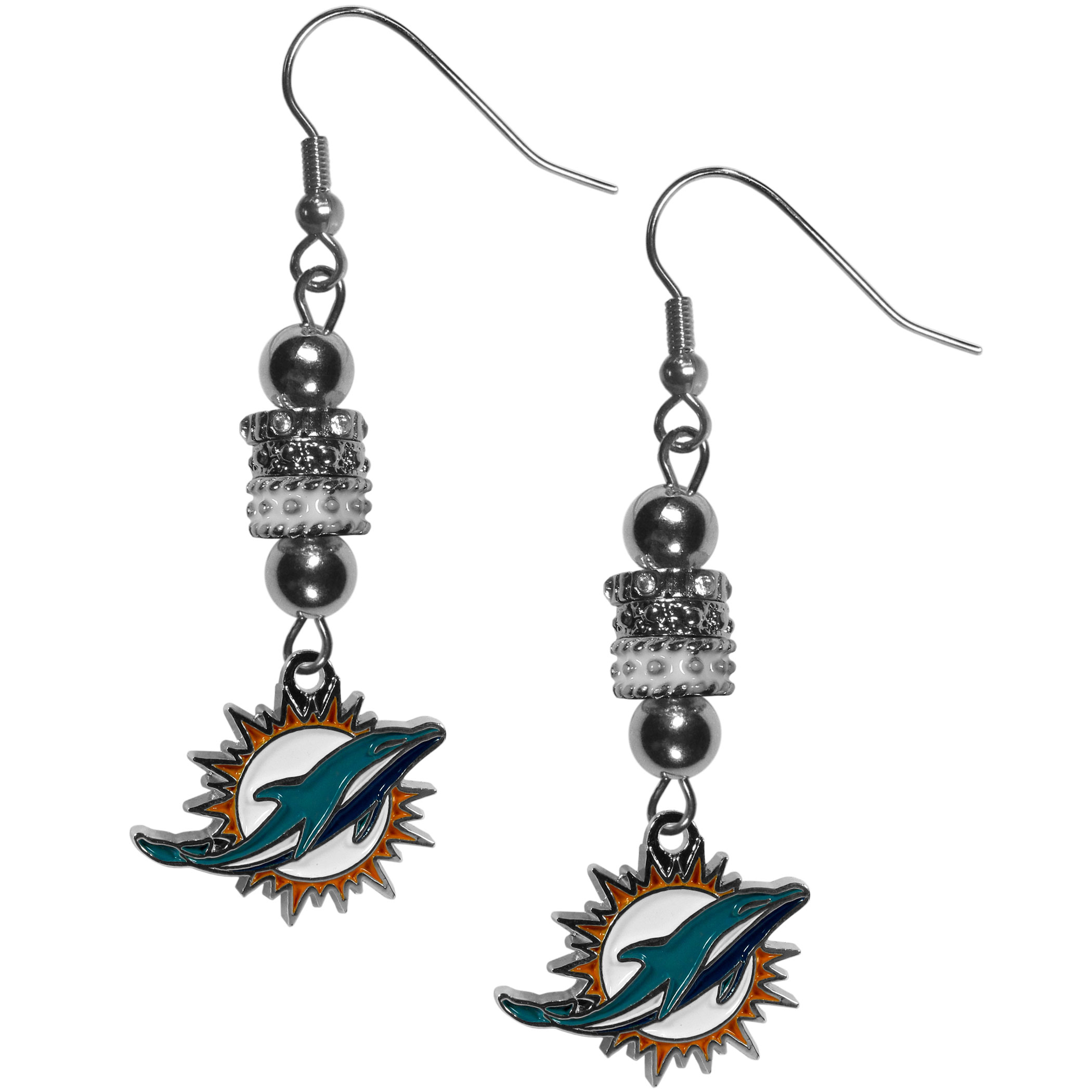 Miami Dolphins Euro Bead Earrings - These beautiful euro style earrings feature 3 euro beads and a detailed Miami Dolphins charm on hypoallergenic fishhook posts.