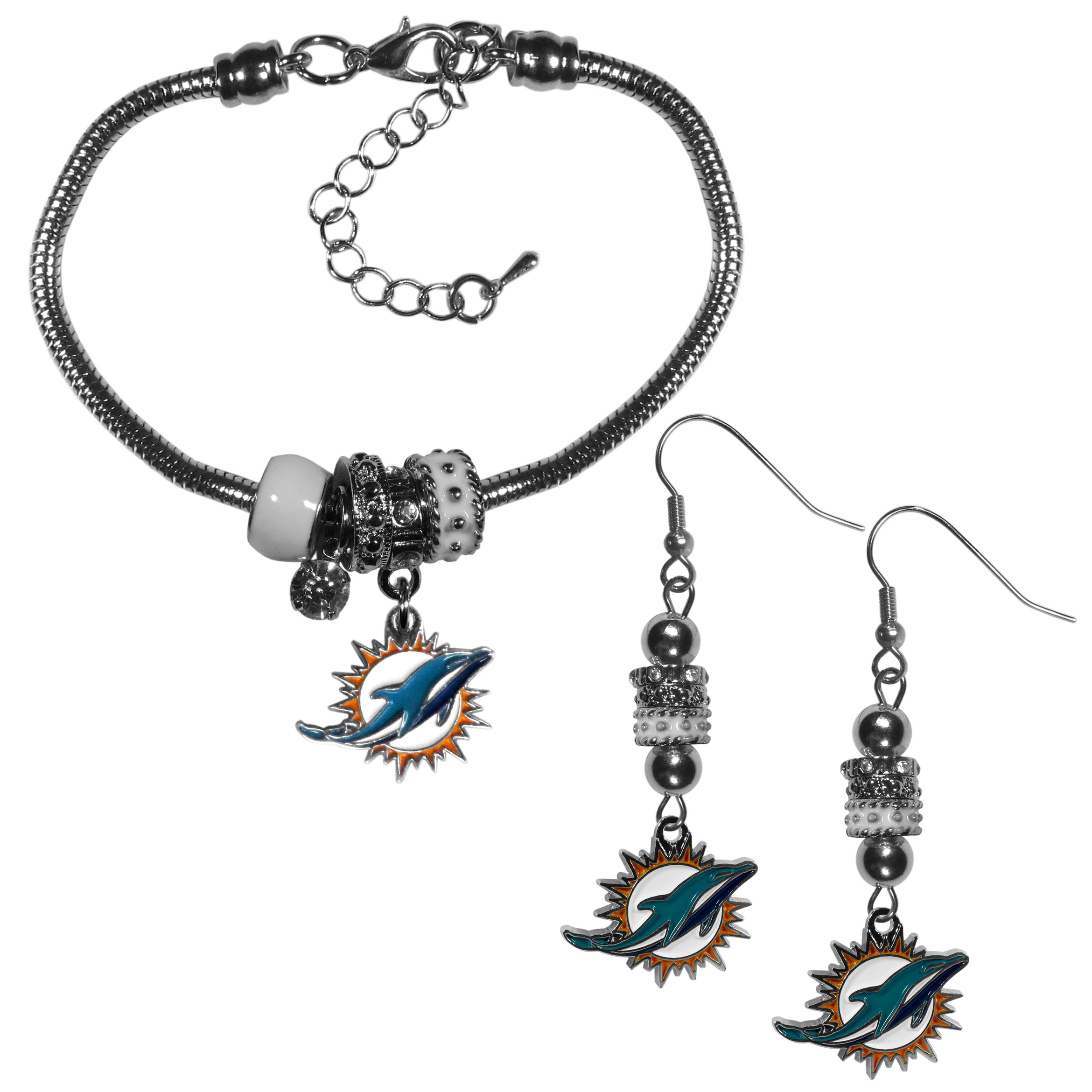 Miami Dolphins Euro Bead Earrings and Bracelet Set - We combine the popular Euro bead style with your love of the Miami Dolphins with this beautiful jewelry set that includes earrings and a matching bracelet. The stylish earrings feature hypoallergenic, nickel free fishhook posts and 3 team colored Euro beads and a metal team charm. The matching snake chain bracelet is 7.5 inches long with a 2 inch extender and 4 Euro beads with a rhinestone charm and team charm.