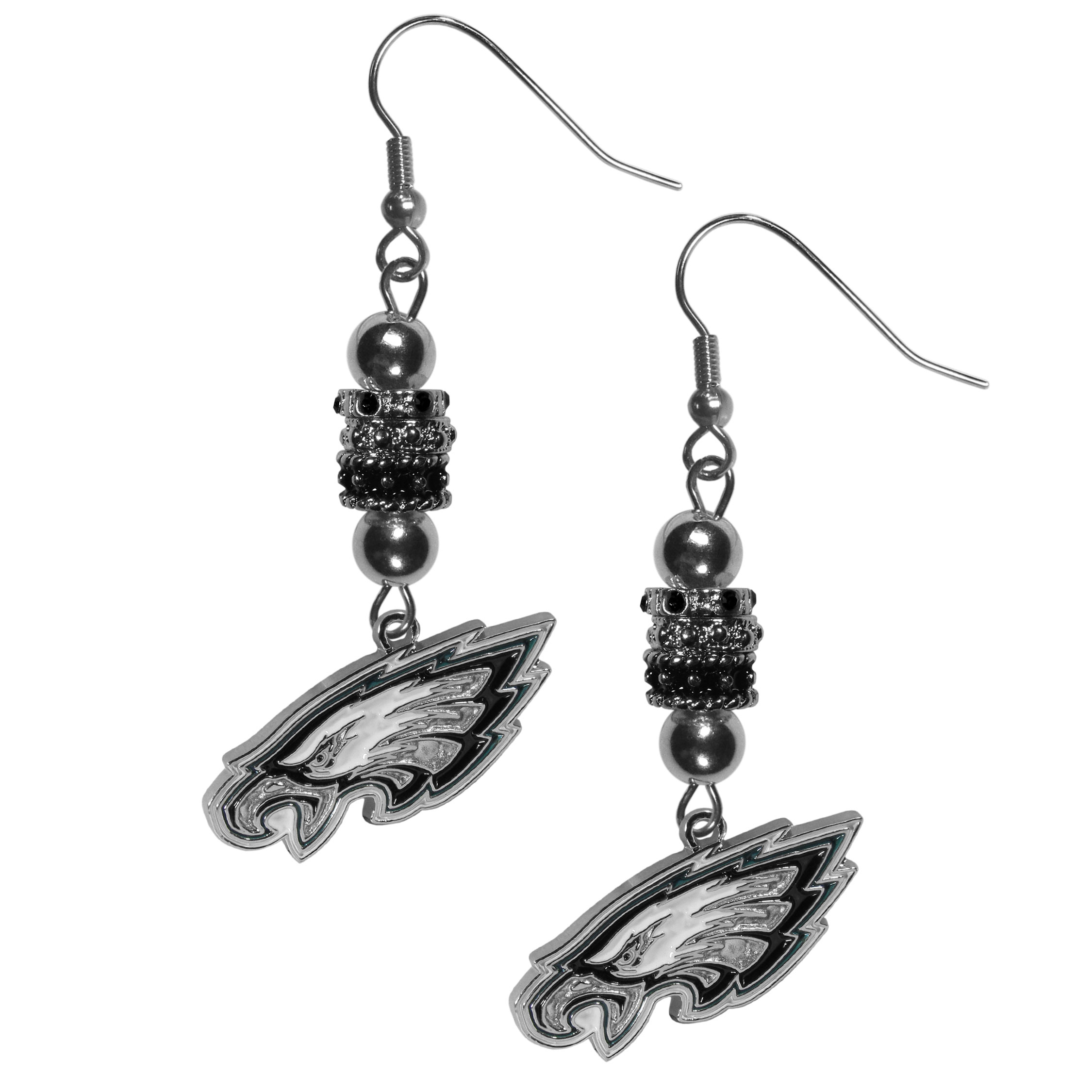 Philadelphia Eagles Euro Bead Earrings - These beautiful euro style earrings feature 3 euro beads and a detailed Philadelphia Eagles charm on hypoallergenic fishhook posts.