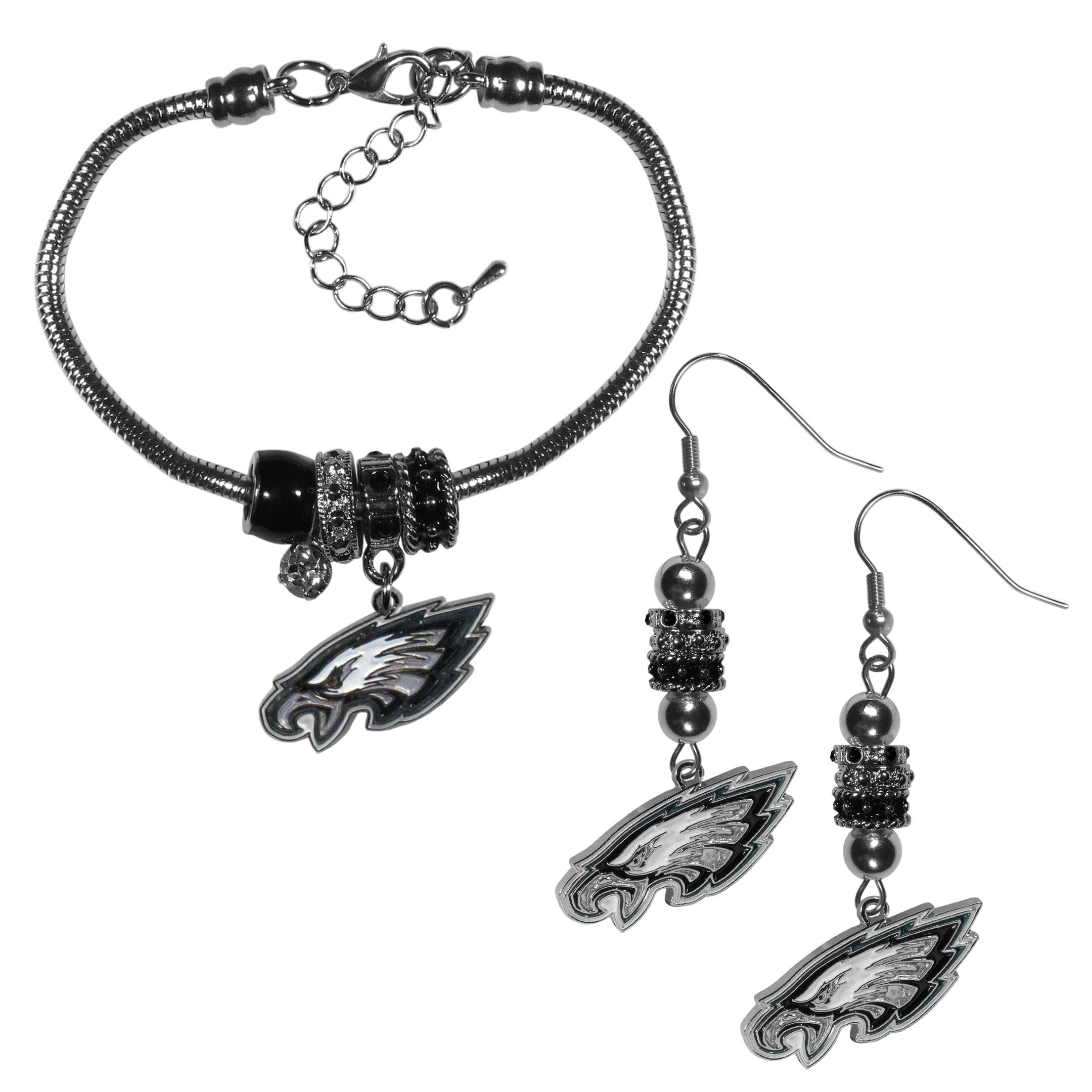 Philadelphia Eagles Euro Bead Earrings and Bracelet Set - We combine the popular Euro bead style with your love of the Philadelphia Eagles with this beautiful jewelry set that includes earrings and a matching bracelet. The stylish earrings feature hypoallergenic, nickel free fishhook posts and 3 team colored Euro beads and a metal team charm. The matching snake chain bracelet is 7.5 inches long with a 2 inch extender and 4 Euro beads with a rhinestone charm and team charm.