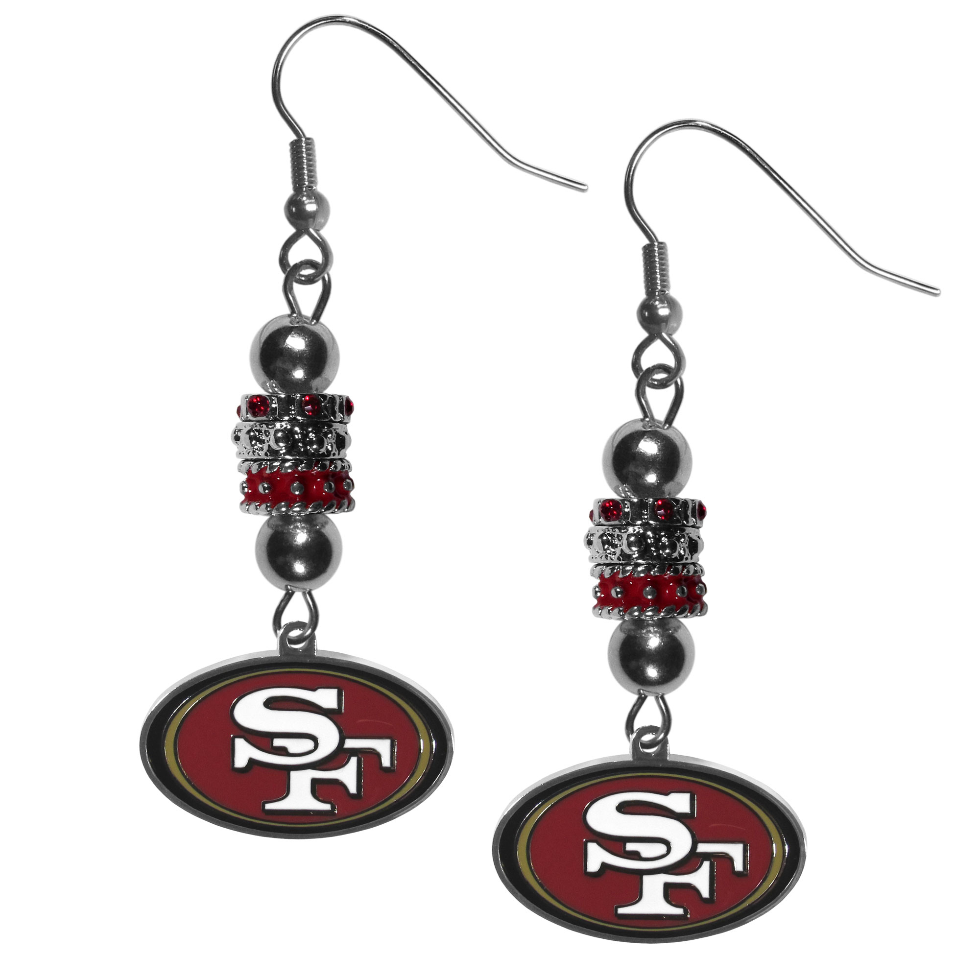 San Francisco 49ers Euro Bead Earrings - These beautiful euro style earrings feature 3 euro beads and a detailed San Francisco 49ers charm on hypoallergenic fishhook posts.