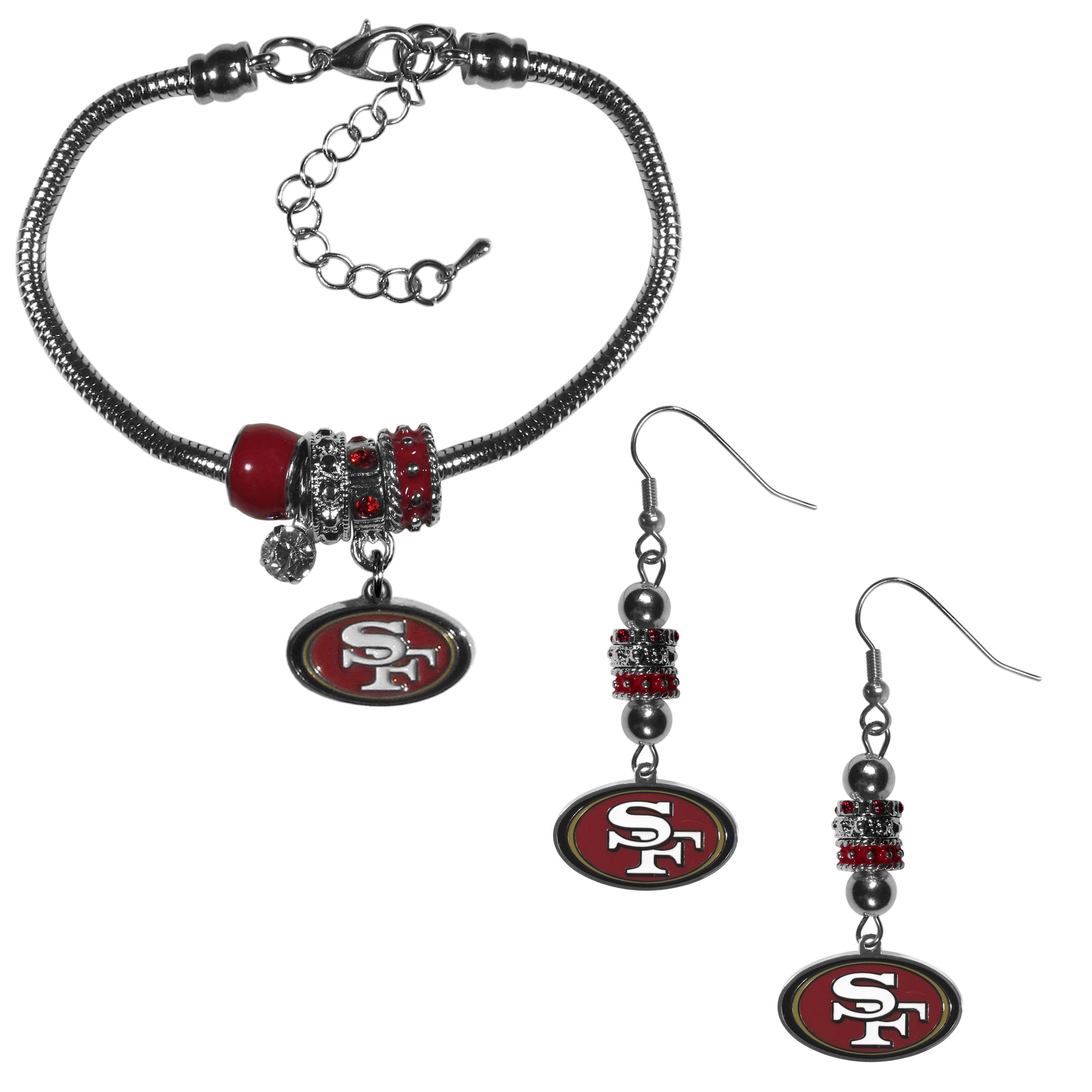 San Francisco 49ers Euro Bead Earrings and Bracelet Set - We combine the popular Euro bead style with your love of the San Francisco 49ers with this beautiful jewelry set that includes earrings and a matching bracelet. The stylish earrings feature hypoallergenic, nickel free fishhook posts and 3 team colored Euro beads and a metal team charm. The matching snake chain bracelet is 7.5 inches long with a 2 inch extender and 4 Euro beads with a rhinestone charm and team charm.
