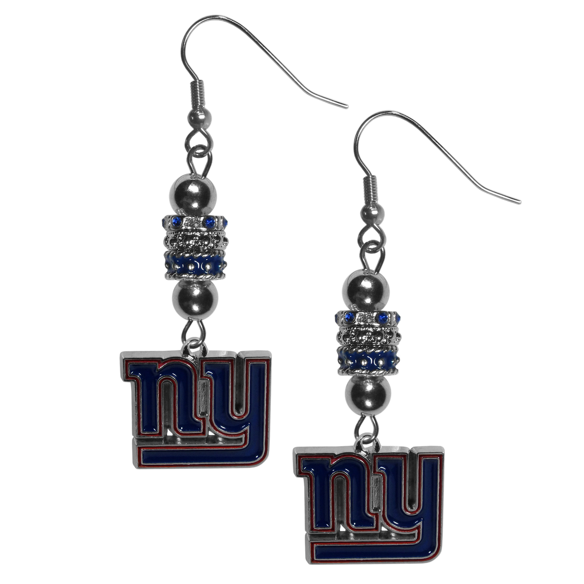 New York Giants Euro Bead Earrings - These beautiful euro style earrings feature 3 euro beads and a detailed New York Giants charm on hypoallergenic fishhook posts.