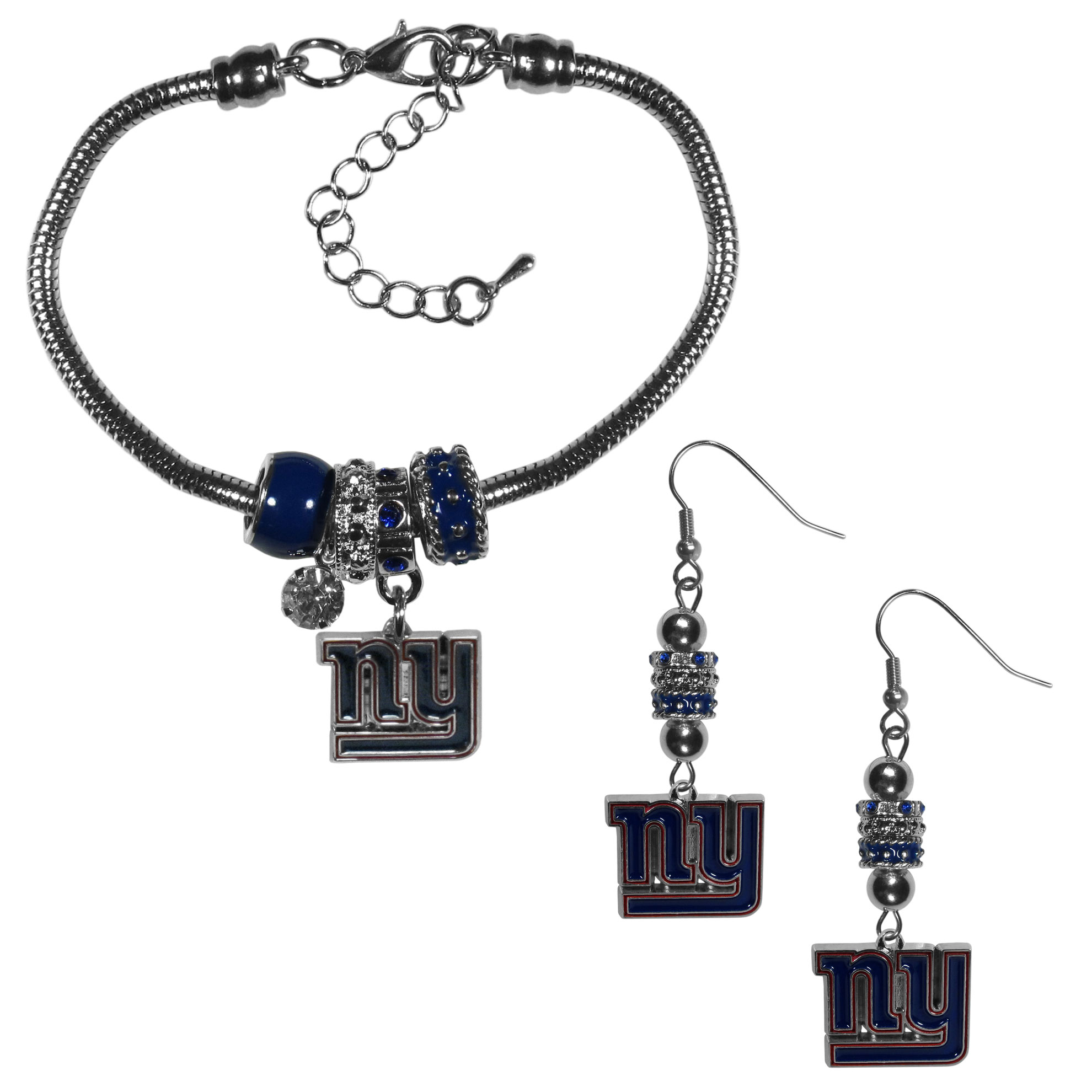 New York Giants Euro Bead Earrings and Bracelet Set - We combine the popular Euro bead style with your love of the New York Giants with this beautiful jewelry set that includes earrings and a matching bracelet. The stylish earrings feature hypoallergenic, nickel free fishhook posts and 3 team colored Euro beads and a metal team charm. The matching snake chain bracelet is 7.5 inches long with a 2 inch extender and 4 Euro beads with a rhinestone charm and team charm.