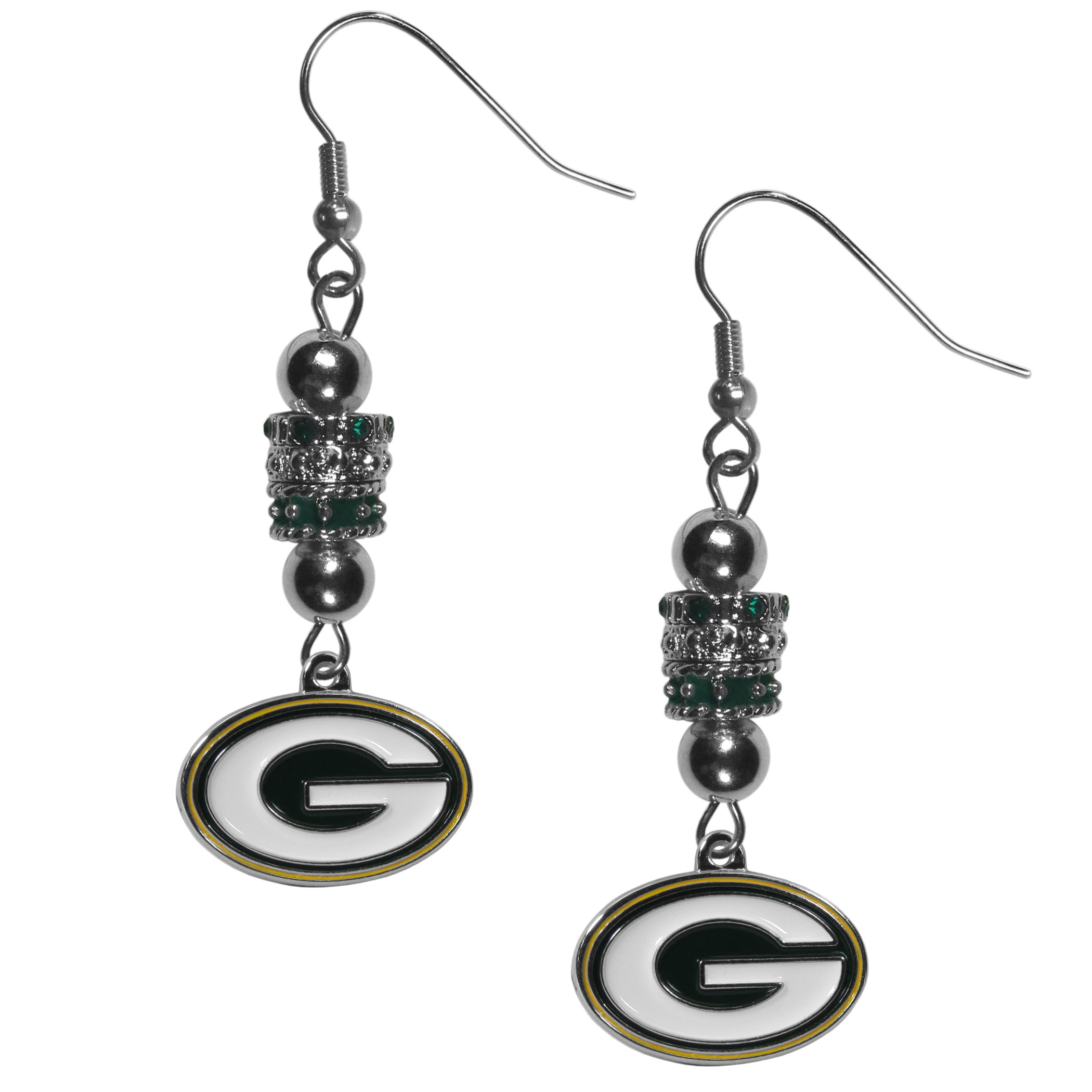 Green Bay Packers Euro Bead Earrings - These beautiful euro style earrings feature 3 euro beads and a detailed Green Bay Packers charm on hypoallergenic fishhook posts.