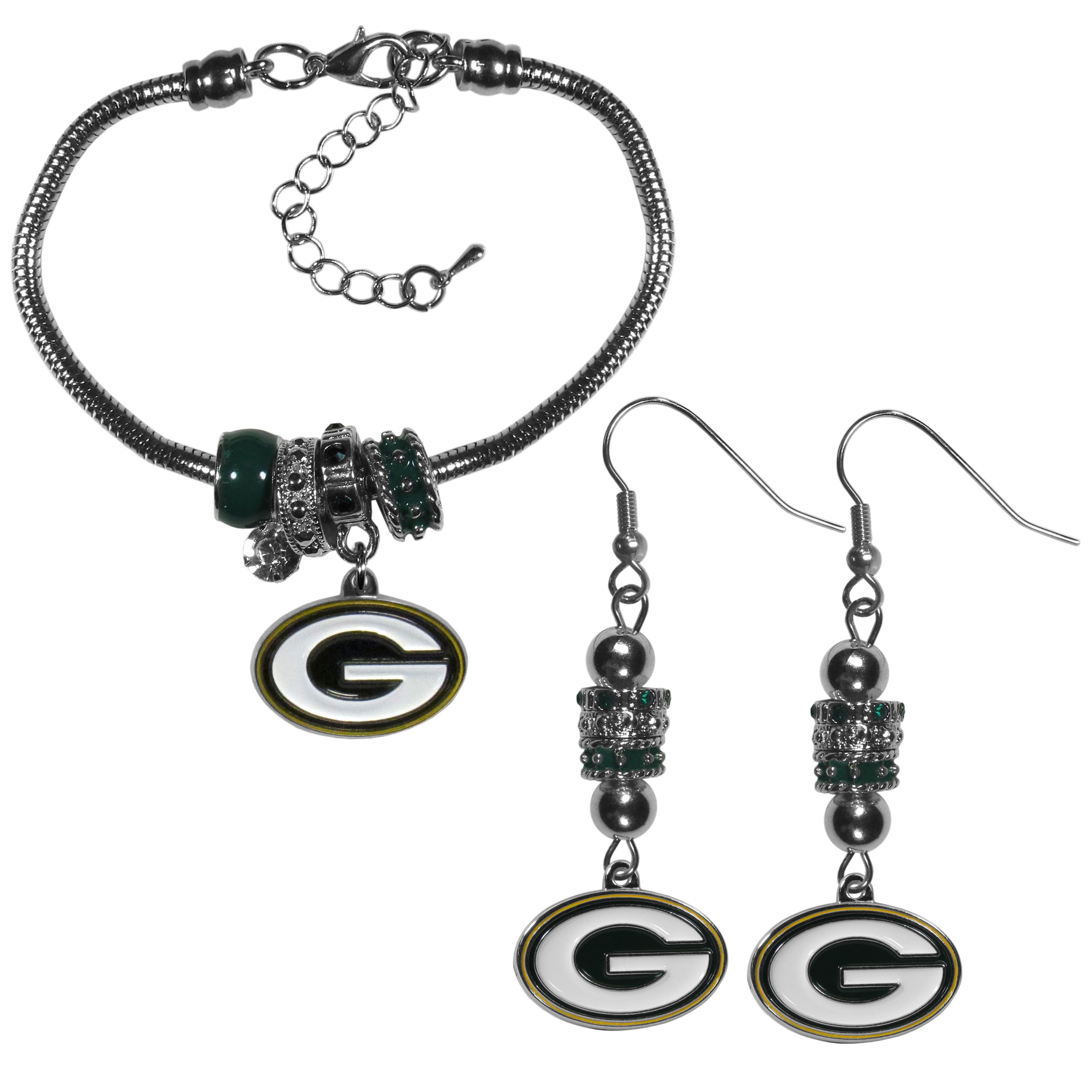 Green Bay Packers Euro Bead Earrings and Bracelet Set - We combine the popular Euro bead style with your love of the Green Bay Packers with this beautiful jewelry set that includes earrings and a matching bracelet. The stylish earrings feature hypoallergenic, nickel free fishhook posts and 3 team colored Euro beads and a metal team charm. The matching snake chain bracelet is 7.5 inches long with a 2 inch extender and 4 Euro beads with a rhinestone charm and team charm.