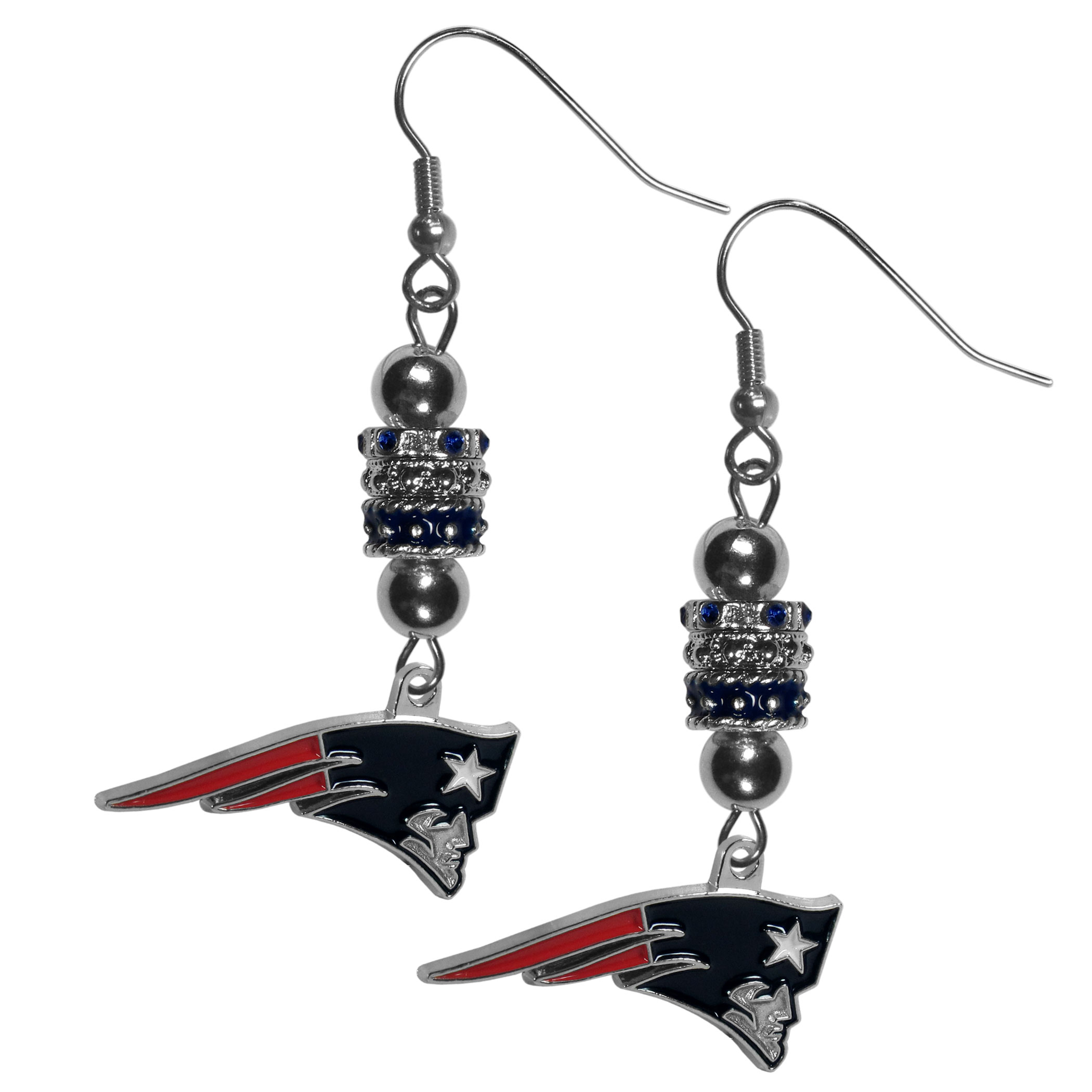 New England Patriots Euro Bead Earrings - These beautiful euro style earrings feature 3 euro beads and a detailed New England Patriots charm on hypoallergenic fishhook posts.
