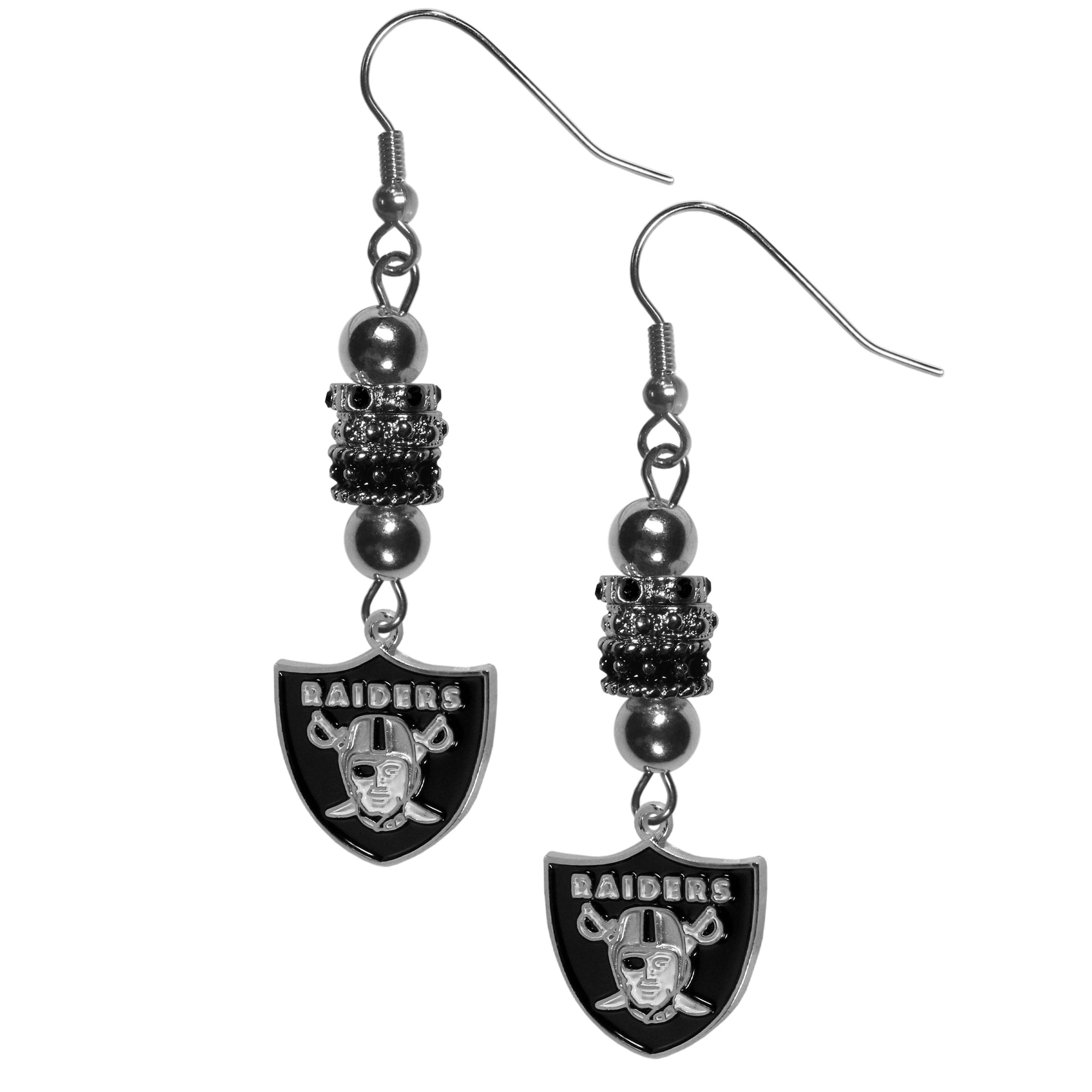 Oakland Raiders Euro Bead Earrings - These beautiful euro style earrings feature 3 euro beads and a detailed Oakland Raiders charm on hypoallergenic fishhook posts.