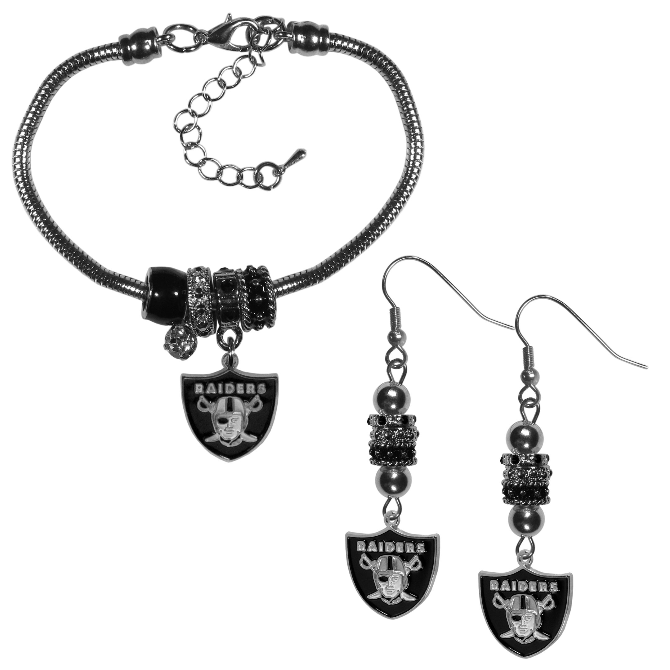 Oakland Raiders Euro Bead Earrings and Bracelet Set - We combine the popular Euro bead style with your love of the Oakland Raiders with this beautiful jewelry set that includes earrings and a matching bracelet. The stylish earrings feature hypoallergenic, nickel free fishhook posts and 3 team colored Euro beads and a metal team charm. The matching snake chain bracelet is 7.5 inches long with a 2 inch extender and 4 Euro beads with a rhinestone charm and team charm.