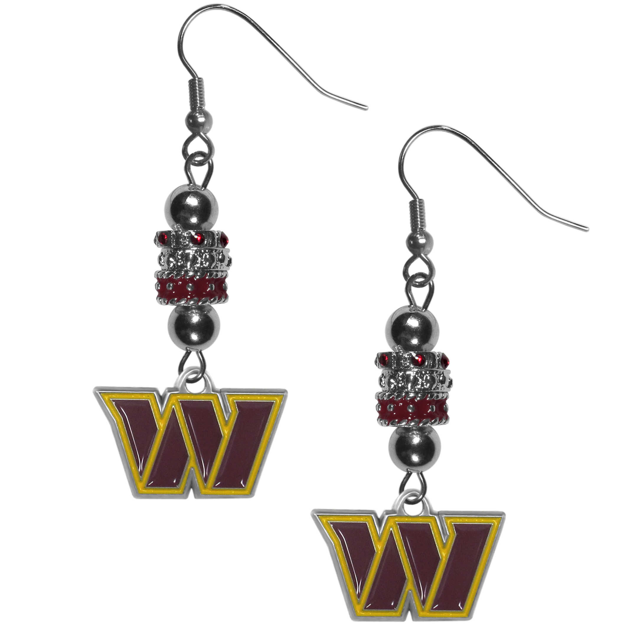 Washington Redskins Euro Bead Earrings - These beautiful euro style earrings feature 3 euro beads and a detailed Washington Redskins charm on hypoallergenic fishhook posts.