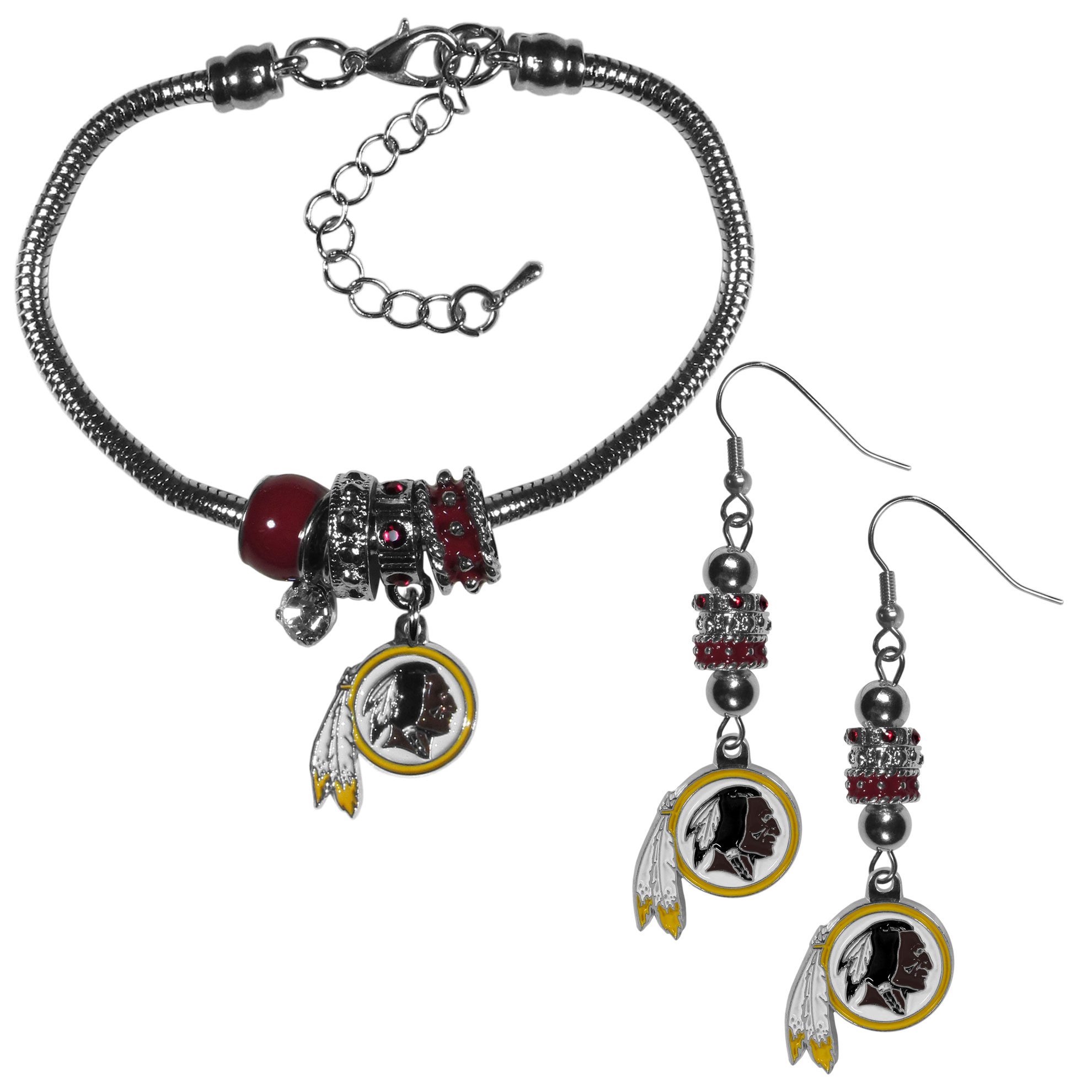 Washington Redskins Euro Bead Earrings and Bracelet Set - We combine the popular Euro bead style with your love of the Washington Redskins with this beautiful jewelry set that includes earrings and a matching bracelet. The stylish earrings feature hypoallergenic, nickel free fishhook posts and 3 team colored Euro beads and a metal team charm. The matching snake chain bracelet is 7.5 inches long with a 2 inch extender and 4 Euro beads with a rhinestone charm and team charm.