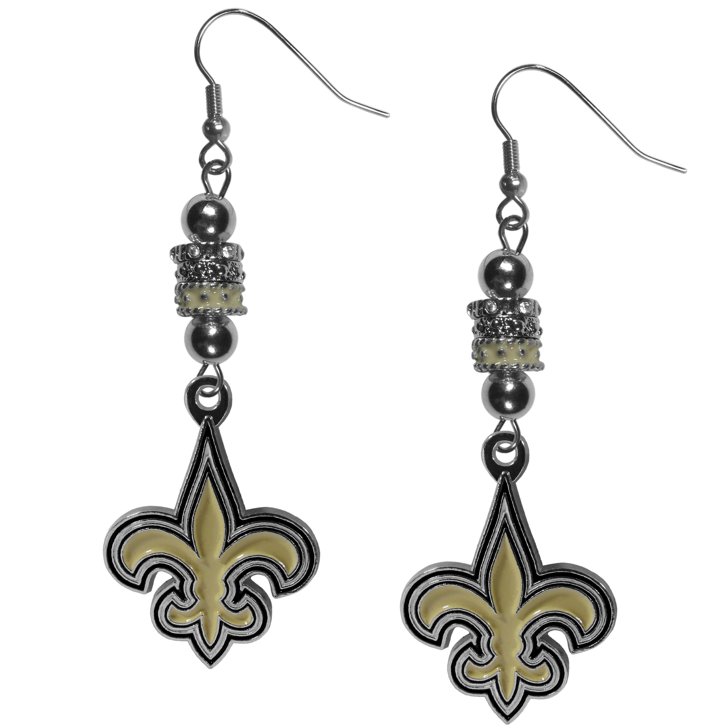 New Orleans Saints Euro Bead Earrings - These beautiful euro style earrings feature 3 euro beads and a detailed New Orleans Saints charm on hypoallergenic fishhook posts.