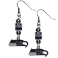 Seattle Seahawks Euro Bead Earrings - These beautiful euro style earrings feature 3 euro beads and a detailed Seattle Seahawks charm on hypoallergenic fishhook posts.