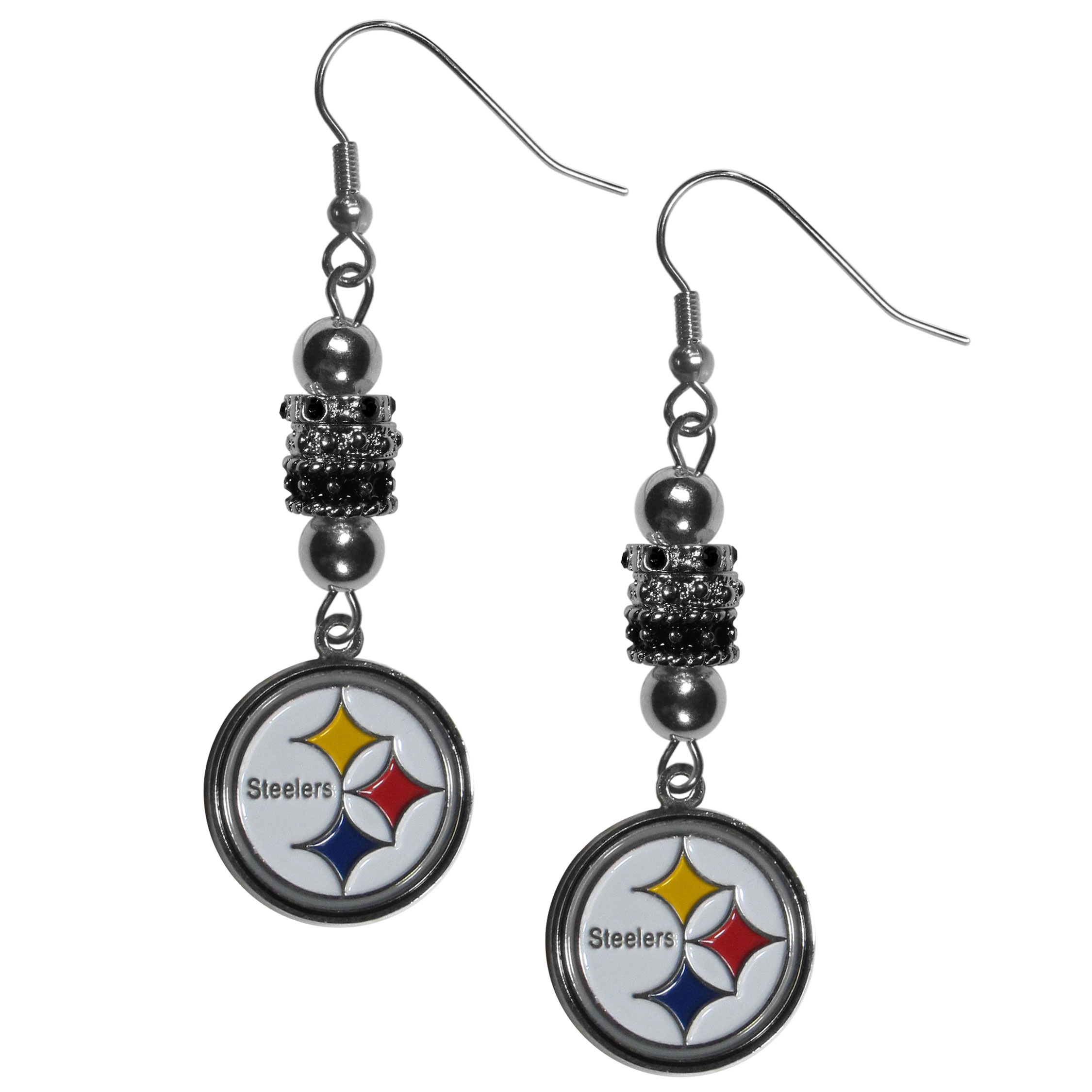 Pittsburgh Steelers Euro Bead Earrings - These beautiful euro style earrings feature 3 euro beads and a detailed Pittsburgh Steelers charm on hypoallergenic fishhook posts.