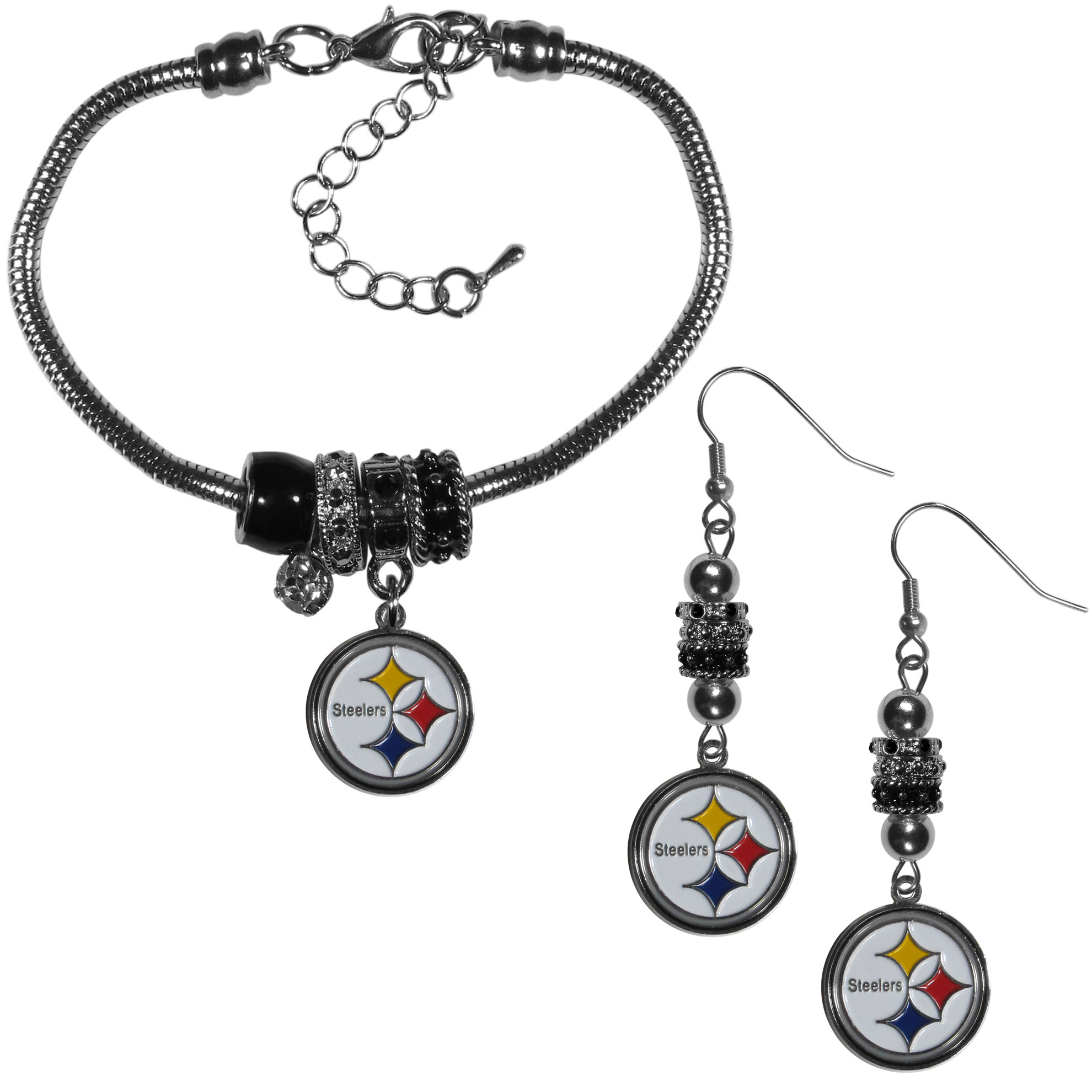 Pittsburgh Steelers Euro Bead Earrings and Bracelet Set - We combine the popular Euro bead style with your love of the Pittsburgh Steelers with this beautiful jewelry set that includes earrings and a matching bracelet. The stylish earrings feature hypoallergenic, nickel free fishhook posts and 3 team colored Euro beads and a metal team charm. The matching snake chain bracelet is 7.5 inches long with a 2 inch extender and 4 Euro beads with a rhinestone charm and team charm.
