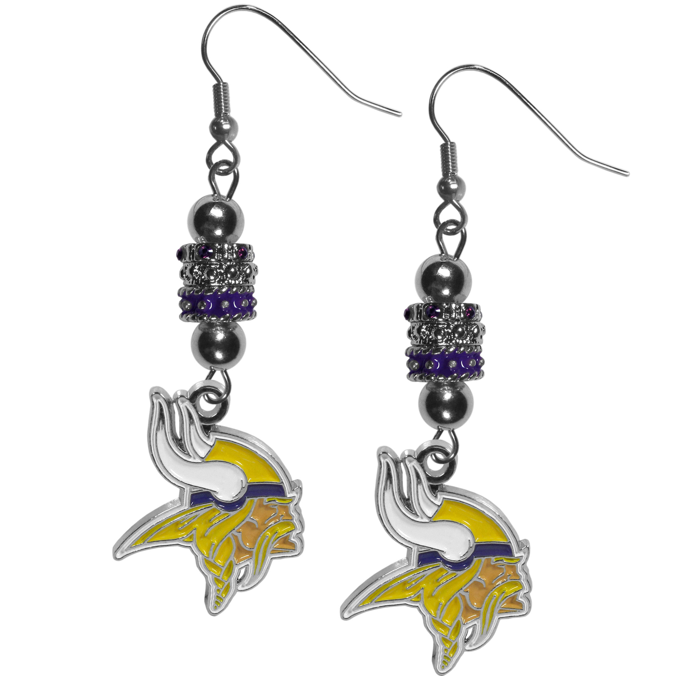 Minnesota Vikings Euro Bead Earrings - These beautiful euro style earrings feature 3 euro beads and a detailed Minnesota Vikings charm on hypoallergenic fishhook posts.