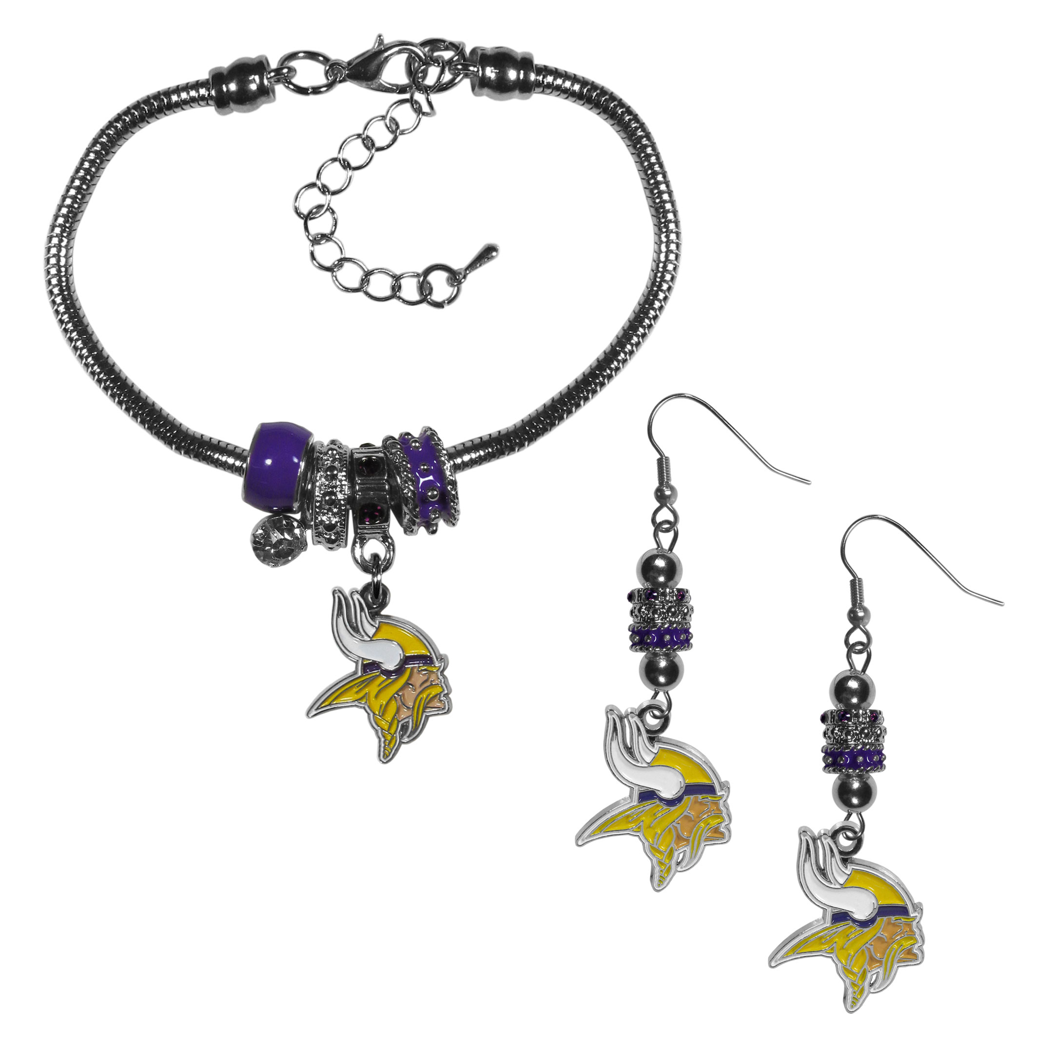 Minnesota Vikings Euro Bead Earrings and Bracelet Set - We combine the popular Euro bead style with your love of the Minnesota Vikings with this beautiful jewelry set that includes earrings and a matching bracelet. The stylish earrings feature hypoallergenic, nickel free fishhook posts and 3 team colored Euro beads and a metal team charm. The matching snake chain bracelet is 7.5 inches long with a 2 inch extender and 4 Euro beads with a rhinestone charm and team charm.