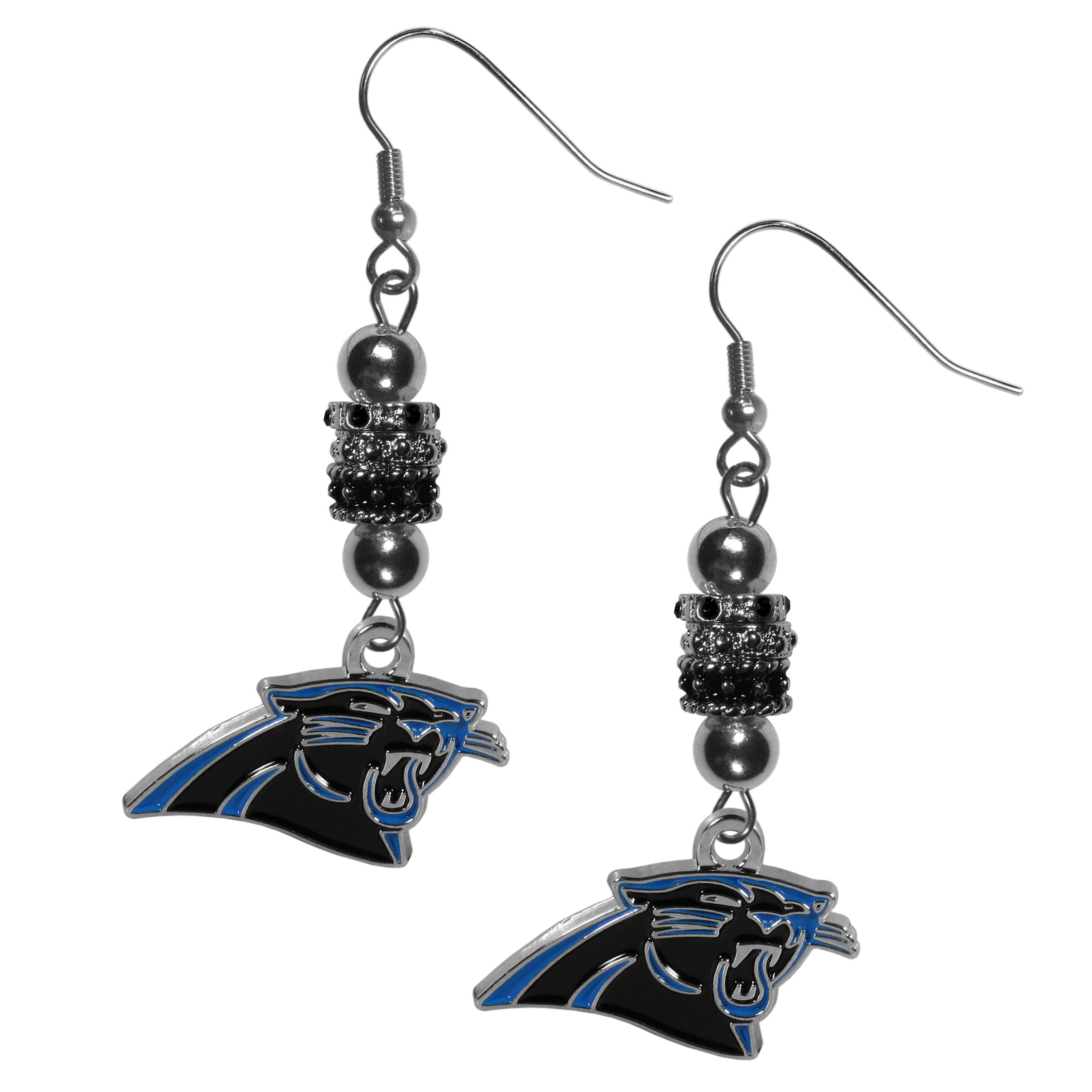 Carolina Panthers Euro Bead Earrings - These beautiful euro style earrings feature 3 euro beads and a detailed Carolina Panthers charm on hypoallergenic fishhook posts.