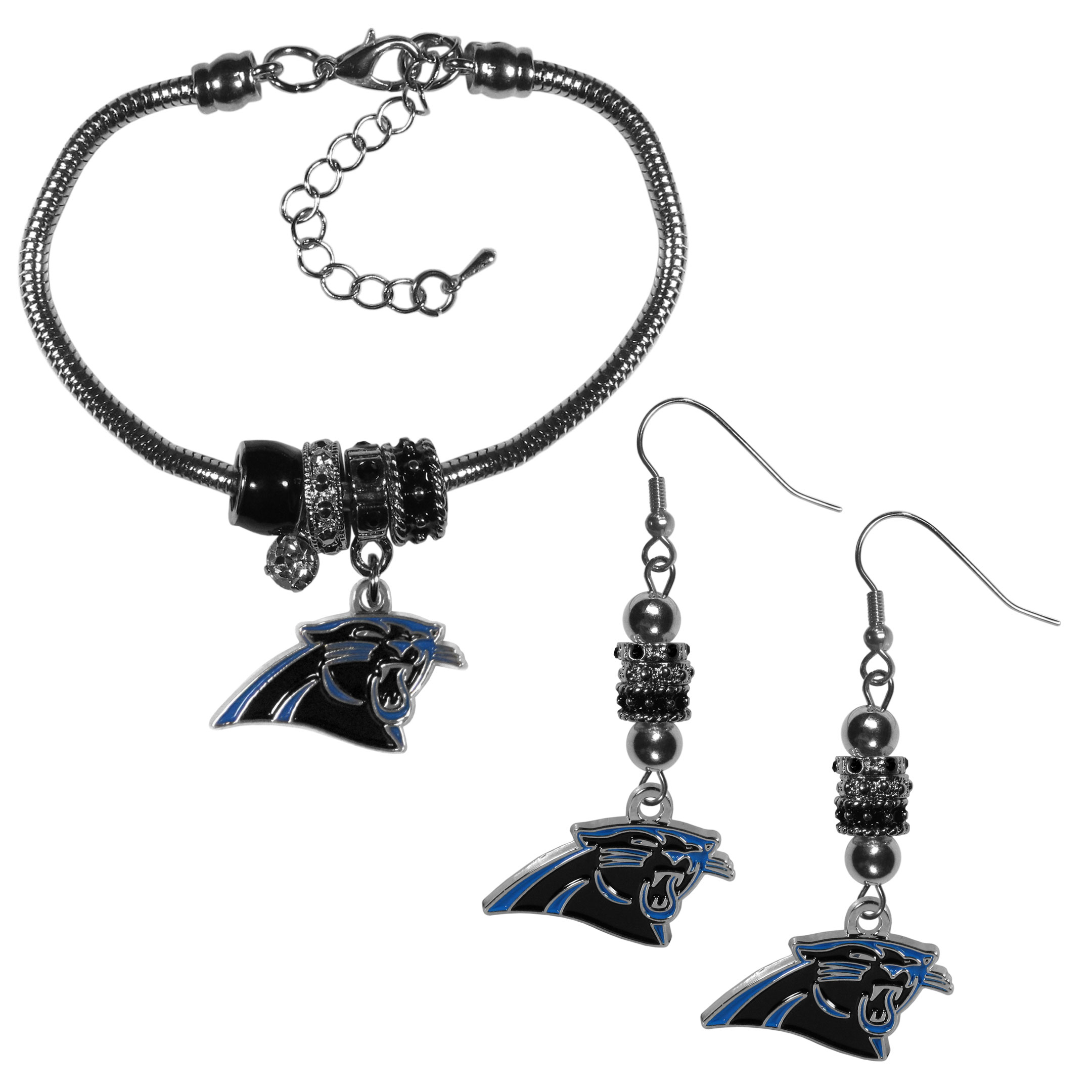 Carolina Panthers Euro Bead Earrings and Bracelet Set - We combine the popular Euro bead style with your love of the Carolina Panthers with this beautiful jewelry set that includes earrings and a matching bracelet. The stylish earrings feature hypoallergenic, nickel free fishhook posts and 3 team colored Euro beads and a metal team charm. The matching snake chain bracelet is 7.5 inches long with a 2 inch extender and 4 Euro beads with a rhinestone charm and team charm.