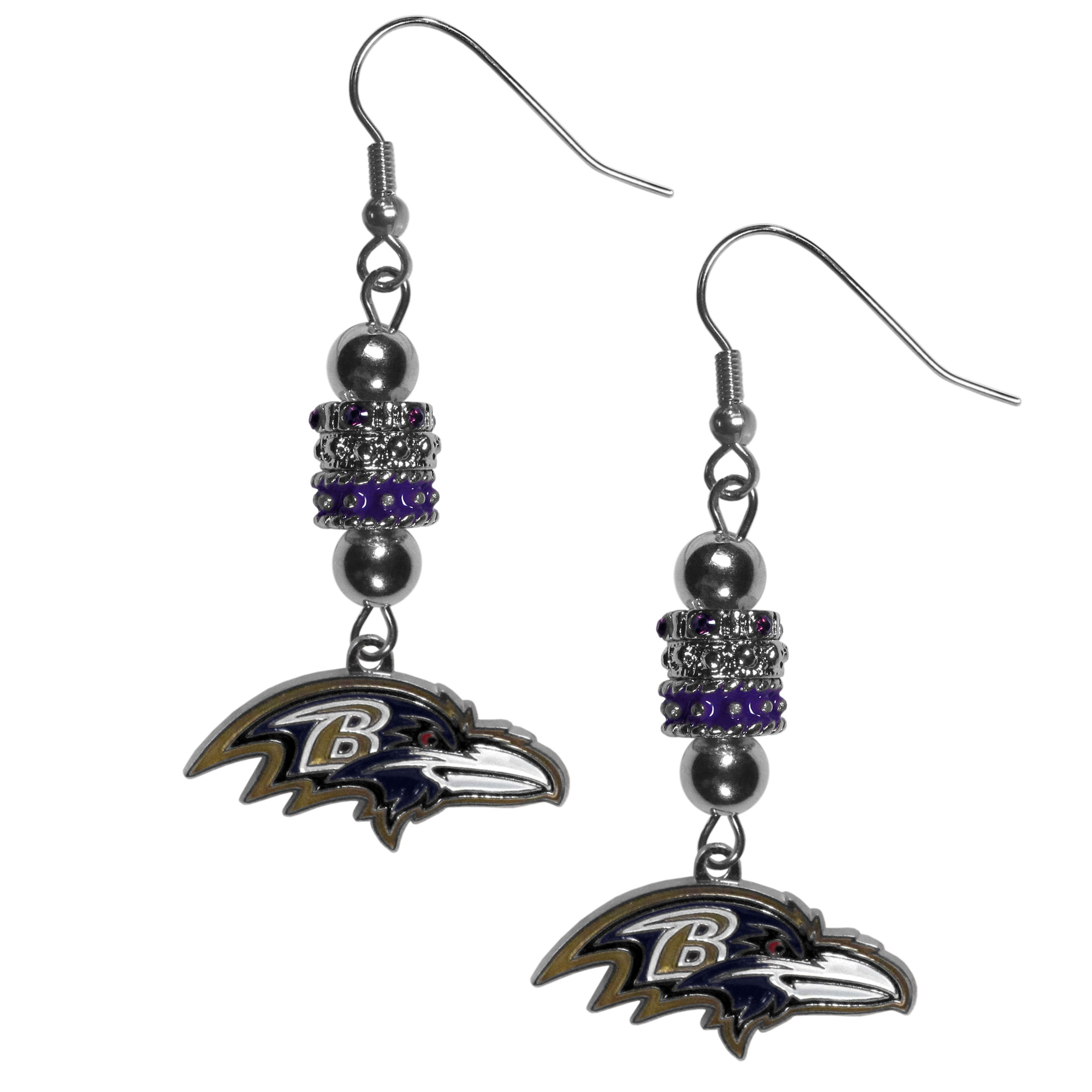 Baltimore Ravens Euro Bead Earrings - These beautiful euro style earrings feature 3 euro beads and a detailed Baltimore Ravens charm on hypoallergenic fishhook posts.