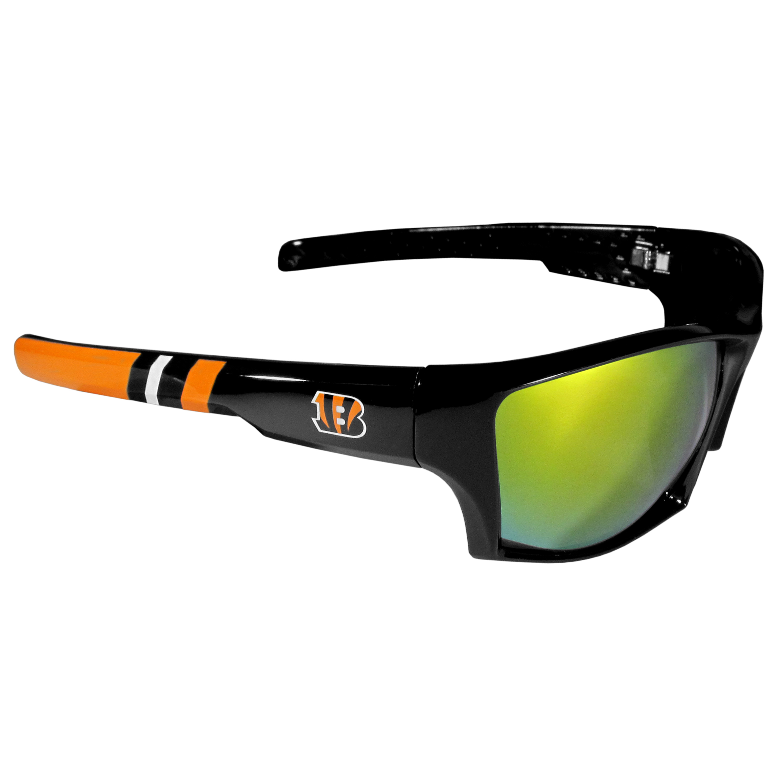 Cincinnati Bengals Edge Wrap Sunglasses - Be an icon of edgy style while you're in the stadium cheering your Cincinnati Bengals to victory with our polarized wrap sunglasses that feature 100% UVA/UVB rating for maximum UV protection. The light-weight frames are built to last with flex hinges for comfort and durability which make them perfect for driving or just lounging by the pool. The colorful rubber grips on the arms of these fashionable sunglasses make them perfect for someone with an active lifestyle. Whether you are hiking, fishing, boating, running on the beach, golfing or playing your favorite sport these designer frames will set you apart. Our edge wrap sunglasses are true quality eyewear at an affordable price. The wrap style frames come with team colored stripes and team logos so you can show off your die-hard team pride while protecting your eyes from those bright sun rays.