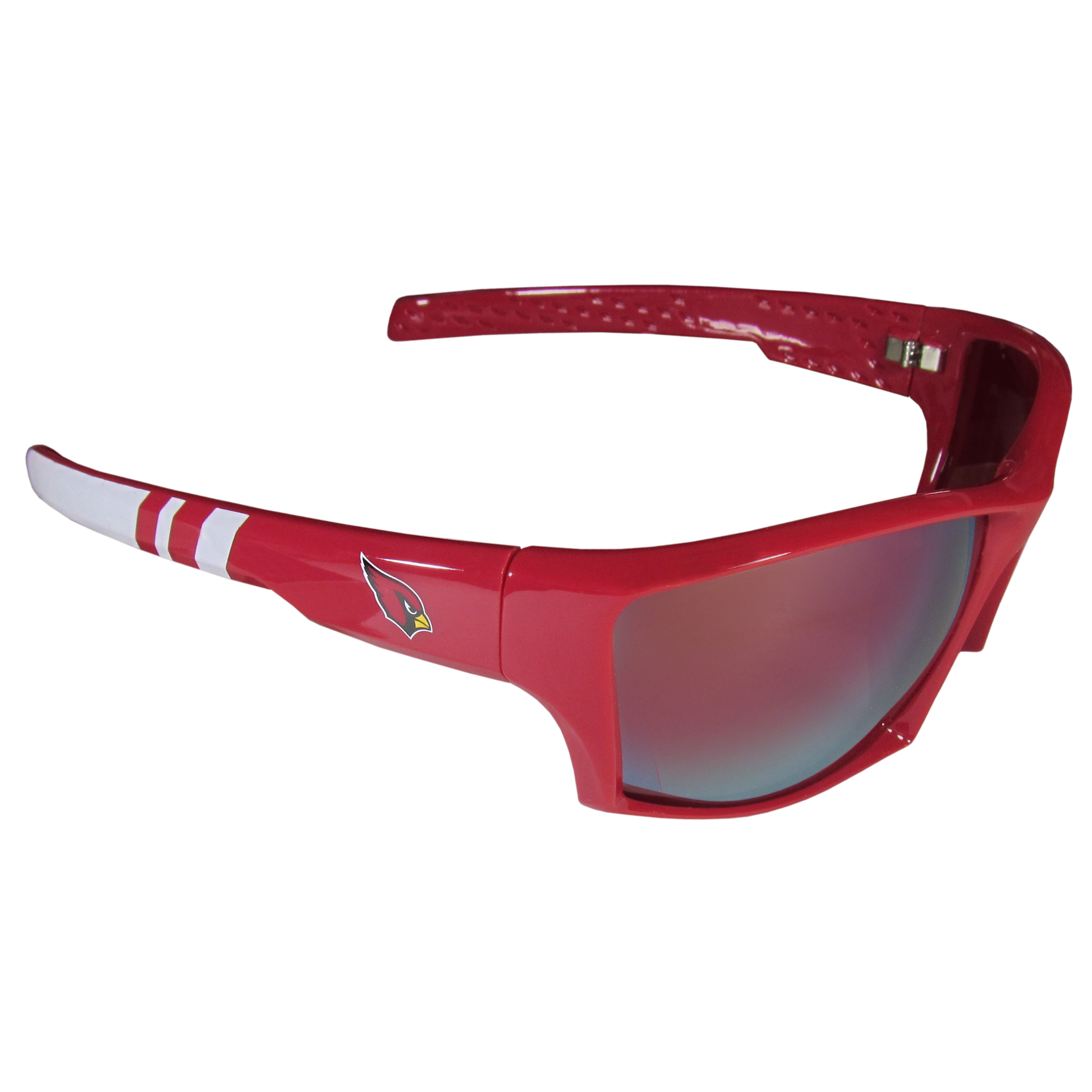 Arizona Cardinals Edge Wrap Sunglasses - Be an icon of edgy style while you're in the stadium cheering your Arizona Cardinals to victory with our polarized wrap sunglasses that feature 100% UVA/UVB rating for maximum UV protection. The light-weight frames are built to last with flex hinges for comfort and durability which make them perfect for driving or just lounging by the pool. The colorful rubber grips on the arms of these fashionable sunglasses make them perfect for someone with an active lifestyle. Whether you are hiking, fishing, boating, running on the beach, golfing or playing your favorite sport these designer frames will set you apart. Our edge wrap sunglasses are true quality eyewear at an affordable price. The wrap style frames come with team colored stripes and team logos so you can show off your die-hard team pride while protecting your eyes from those bright sun rays.