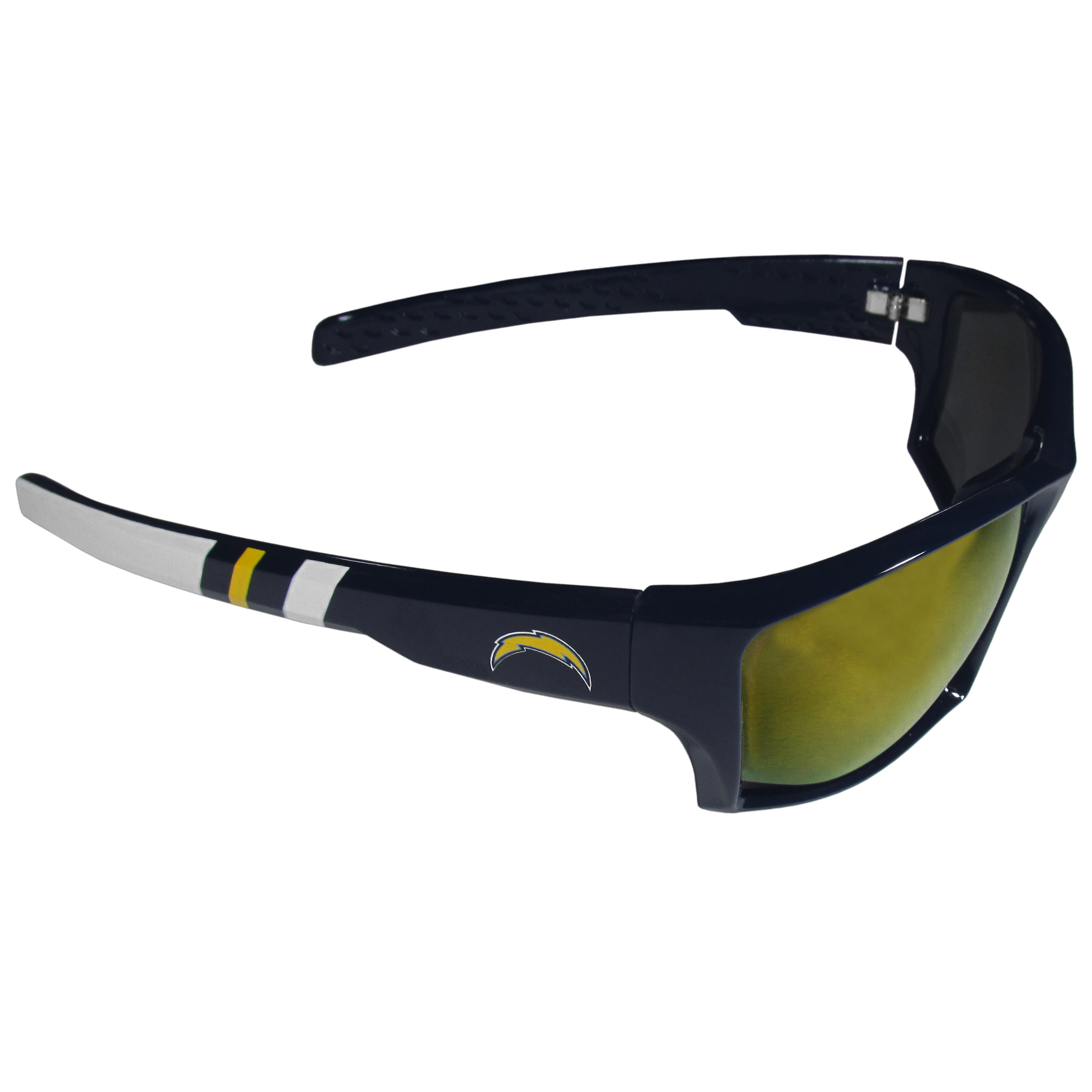 Los Angeles Chargers Edge Wrap Sunglasses - Be an icon of edgy style while you're in the stadium cheering your Los Angeles Chargers to victory with our polarized wrap sunglasses that feature 100% UVA/UVB rating for maximum UV protection. The light-weight frames are built to last with flex hinges for comfort and durability which make them perfect for driving or just lounging by the pool. The colorful rubber grips on the arms of these fashionable sunglasses make them perfect for someone with an active lifestyle. Whether you are hiking, fishing, boating, running on the beach, golfing or playing your favorite sport these designer frames will set you apart. Our edge wrap sunglasses are true quality eyewear at an affordable price. The wrap style frames come with team colored stripes and team logos so you can show off your die-hard team pride while protecting your eyes from those bright sun rays.