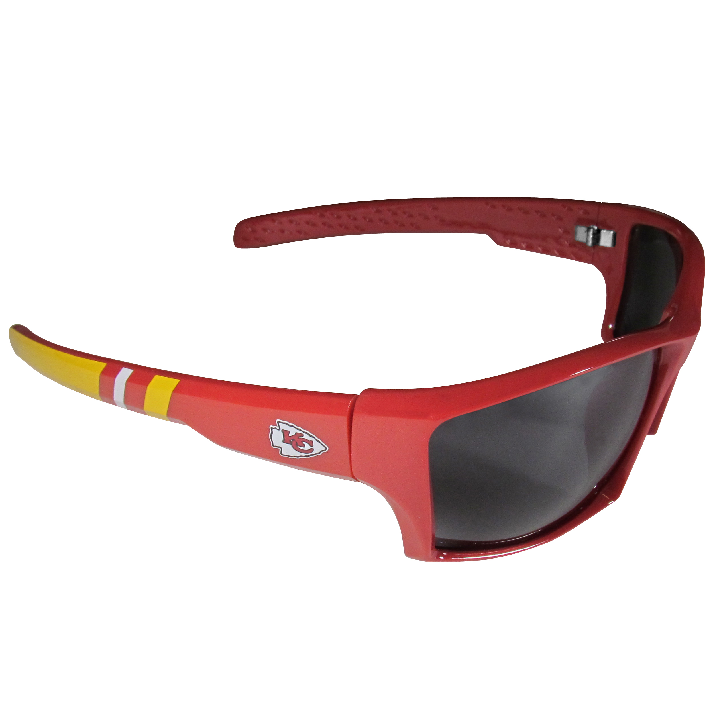 Kansas City Chiefs Edge Wrap Sunglasses - Be an icon of edgy style while you're in the stadium cheering your Kansas City Chiefs to victory with our polarized wrap sunglasses that feature 100% UVA/UVB rating for maximum UV protection. The light-weight frames are built to last with flex hinges for comfort and durability which make them perfect for driving or just lounging by the pool. The colorful rubber grips on the arms of these fashionable sunglasses make them perfect for someone with an active lifestyle. Whether you are hiking, fishing, boating, running on the beach, golfing or playing your favorite sport these designer frames will set you apart. Our edge wrap sunglasses are true quality eyewear at an affordable price. The wrap style frames come with team colored stripes and team logos so you can show off your die-hard team pride while protecting your eyes from those bright sun rays.