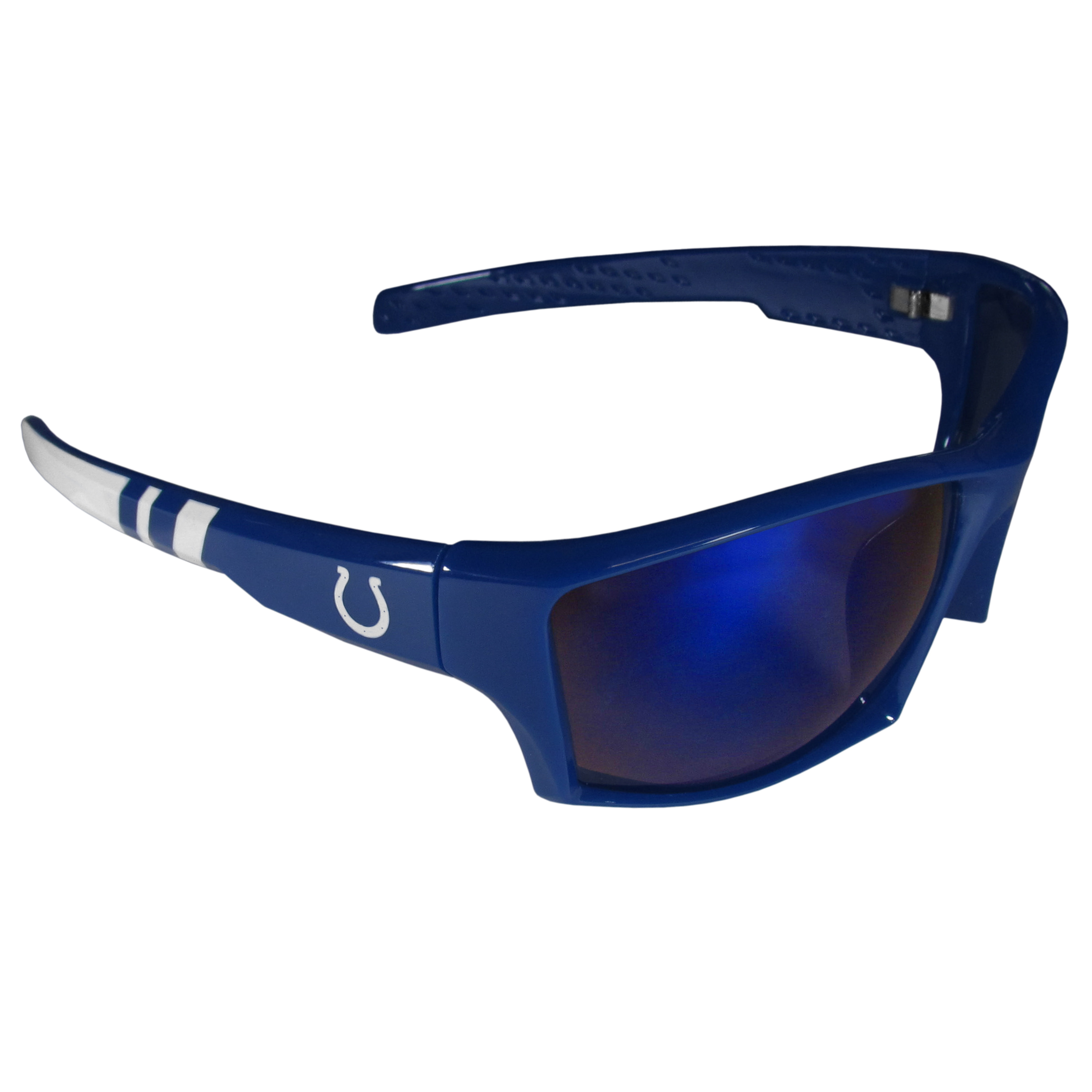 Indianapolis Colts Edge Wrap Sunglasses - Be an icon of edgy style while you're in the stadium cheering your Indianapolis Colts to victory with our polarized wrap sunglasses that feature 100% UVA/UVB rating for maximum UV protection. The light-weight frames are built to last with flex hinges for comfort and durability which make them perfect for driving or just lounging by the pool. The colorful rubber grips on the arms of these fashionable sunglasses make them perfect for someone with an active lifestyle. Whether you are hiking, fishing, boating, running on the beach, golfing or playing your favorite sport these designer frames will set you apart. Our edge wrap sunglasses are true quality eyewear at an affordable price. The wrap style frames come with team colored stripes and team logos so you can show off your die-hard team pride while protecting your eyes from those bright sun rays.