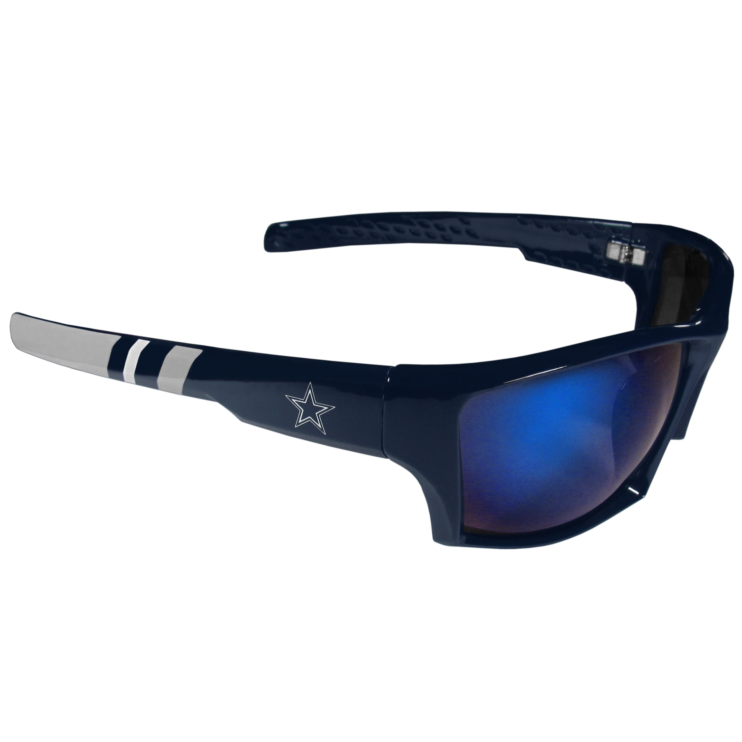 Dallas Cowboys Edge Wrap Sunglasses - Be an icon of edgy style while you're in the stadium cheering your Dallas Cowboys to victory with our polarized wrap sunglasses that feature 100% UVA/UVB rating for maximum UV protection. The light-weight frames are built to last with flex hinges for comfort and durability which make them perfect for driving or just lounging by the pool. The colorful rubber grips on the arms of these fashionable sunglasses make them perfect for someone with an active lifestyle. Whether you are hiking, fishing, boating, running on the beach, golfing or playing your favorite sport these designer frames will set you apart. Our edge wrap sunglasses are true quality eyewear at an affordable price. The wrap style frames come with team colored stripes and team logos so you can show off your die-hard team pride while protecting your eyes from those bright sun rays.