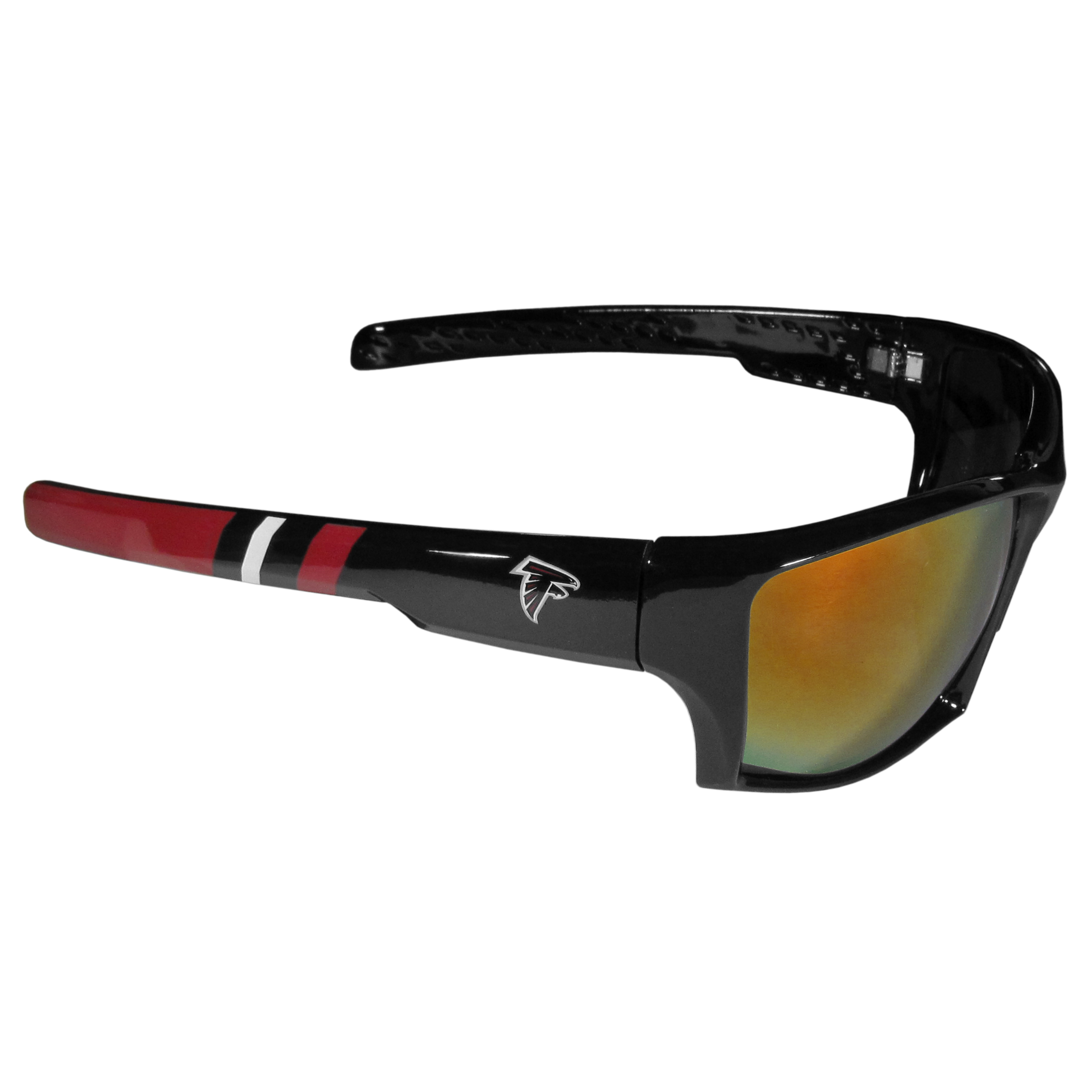 Atlanta Falcons Edge Wrap Sunglasses - Be an icon of edgy style while you're in the stadium cheering your Atlanta Falcons to victory with our polarized wrap sunglasses that feature 100% UVA/UVB rating for maximum UV protection. The light-weight frames are built to last with flex hinges for comfort and durability which make them perfect for driving or just lounging by the pool. The colorful rubber grips on the arms of these fashionable sunglasses make them perfect for someone with an active lifestyle. Whether you are hiking, fishing, boating, running on the beach, golfing or playing your favorite sport these designer frames will set you apart. Our edge wrap sunglasses are true quality eyewear at an affordable price. The wrap style frames come with team colored stripes and team logos so you can show off your die-hard team pride while protecting your eyes from those bright sun rays.