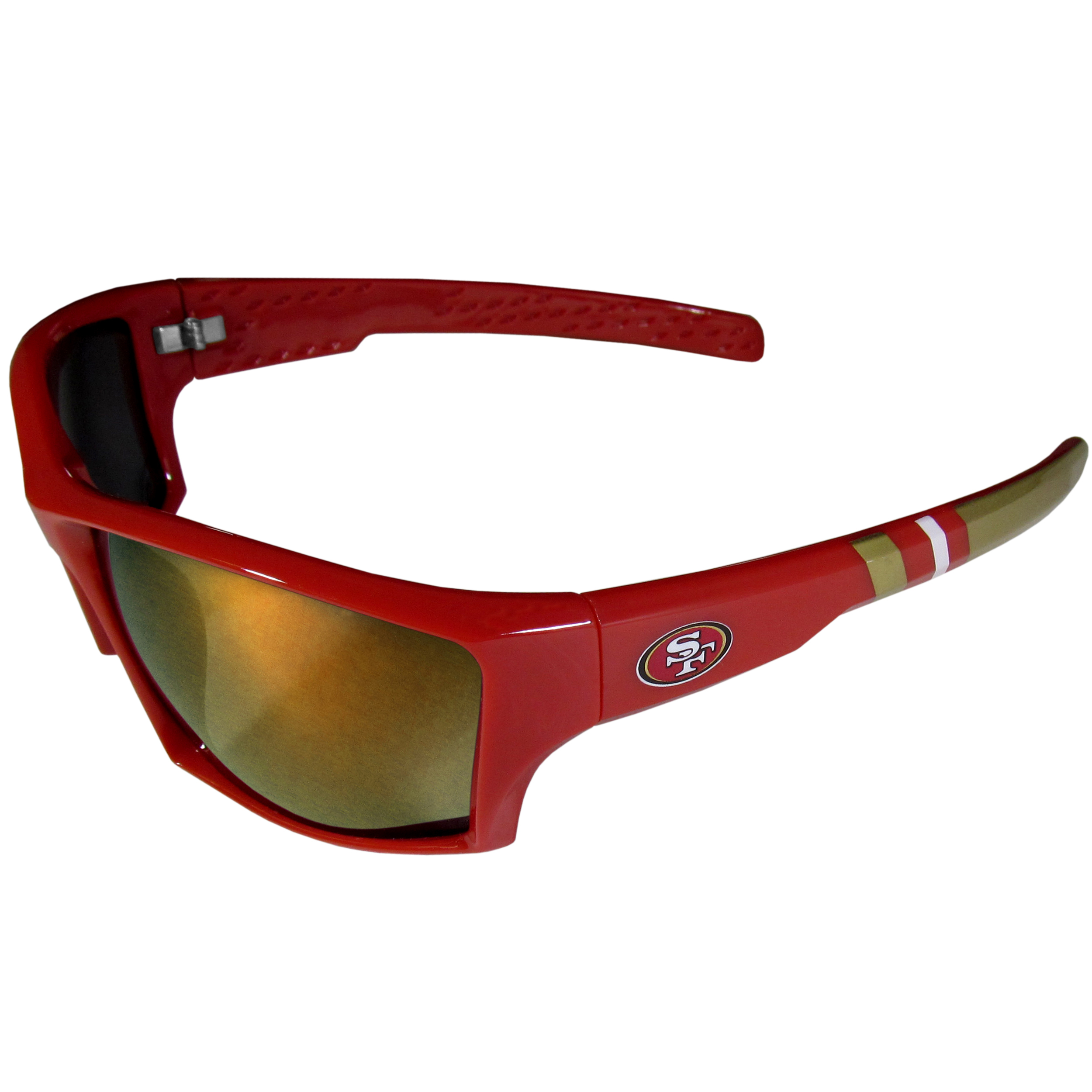 San Francisco 49ers Edge Wrap Sunglasses - Be an icon of edgy style while you're in the stadium cheering your San Francisco 49ers to victory with our polarized wrap sunglasses that feature 100% UVA/UVB rating for maximum UV protection. The light-weight frames are built to last with flex hinges for comfort and durability which make them perfect for driving or just lounging by the pool. The colorful rubber grips on the arms of these fashionable sunglasses make them perfect for someone with an active lifestyle. Whether you are hiking, fishing, boating, running on the beach, golfing or playing your favorite sport these designer frames will set you apart. Our edge wrap sunglasses are true quality eyewear at an affordable price. The wrap style frames come with team colored stripes and team logos so you can show off your die-hard team pride while protecting your eyes from those bright sun rays.