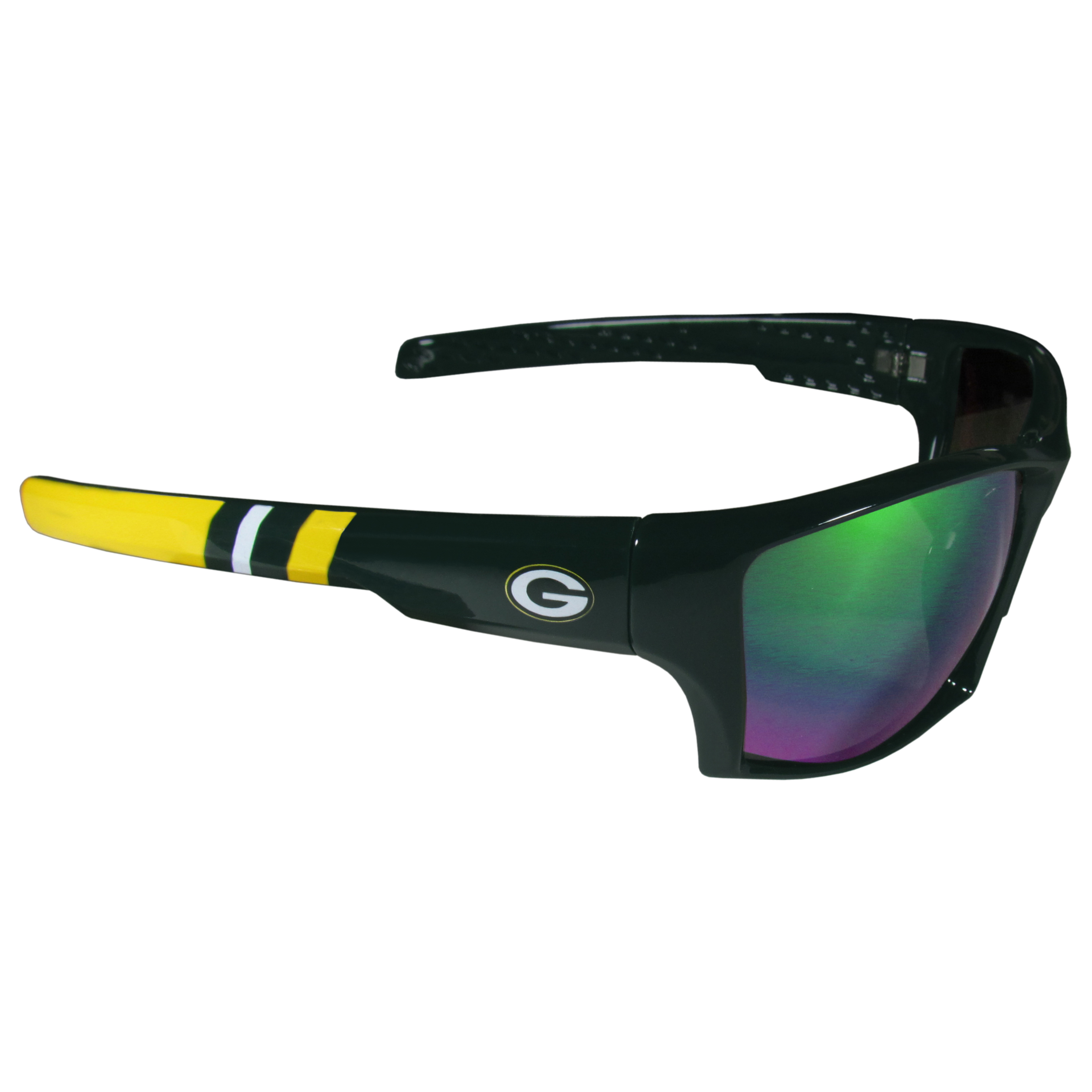Green Bay Packers Edge Wrap Sunglasses - Be an icon of edgy style while you're in the stadium cheering your Green Bay Packers to victory with our polarized wrap sunglasses that feature 100% UVA/UVB rating for maximum UV protection. The light-weight frames are built to last with flex hinges for comfort and durability which make them perfect for driving or just lounging by the pool. The colorful rubber grips on the arms of these fashionable sunglasses make them perfect for someone with an active lifestyle. Whether you are hiking, fishing, boating, running on the beach, golfing or playing your favorite sport these designer frames will set you apart. Our edge wrap sunglasses are true quality eyewear at an affordable price. The wrap style frames come with team colored stripes and team logos so you can show off your die-hard team pride while protecting your eyes from those bright sun rays.
