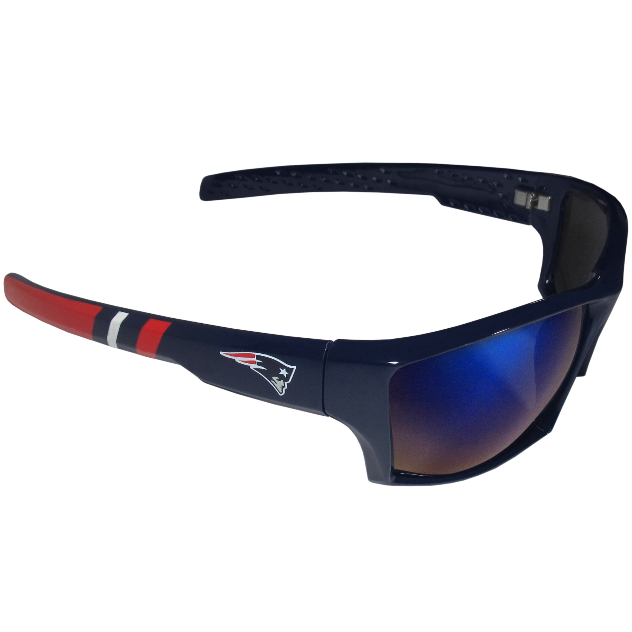 New England Patriots Edge Wrap Sunglasses - Be an icon of edgy style while you're in the stadium cheering your New England Patriots to victory with our polarized wrap sunglasses that feature 100% UVA/UVB rating for maximum UV protection. The light-weight frames are built to last with flex hinges for comfort and durability which make them perfect for driving or just lounging by the pool. The colorful rubber grips on the arms of these fashionable sunglasses make them perfect for someone with an active lifestyle. Whether you are hiking, fishing, boating, running on the beach, golfing or playing your favorite sport these designer frames will set you apart. Our edge wrap sunglasses are true quality eyewear at an affordable price. The wrap style frames come with team colored stripes and team logos so you can show off your die-hard team pride while protecting your eyes from those bright sun rays.