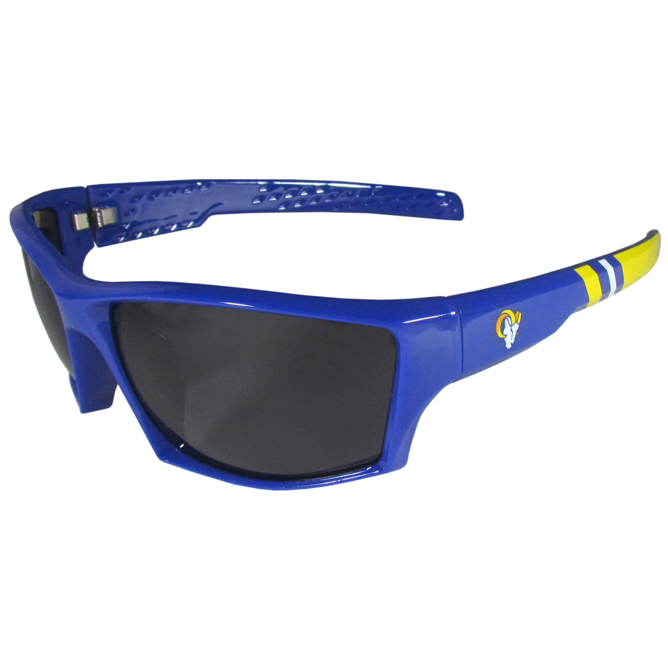 Los Angeles Rams Edge Wrap Sunglasses - Be an icon of edgy style while you're in the stadium cheering your Los Angeles Rams to victory with our polarized wrap sunglasses that feature 100% UVA/UVB rating for maximum UV protection. The light-weight frames are built to last with flex hinges for comfort and durability which make them perfect for driving or just lounging by the pool. The colorful rubber grips on the arms of these fashionable sunglasses make them perfect for someone with an active lifestyle. Whether you are hiking, fishing, boating, running on the beach, golfing or playing your favorite sport these designer frames will set you apart. Our edge wrap sunglasses are true quality eyewear at an affordable price. The wrap style frames come with team colored stripes and team logos so you can show off your die-hard team pride while protecting your eyes from those bright sun rays.