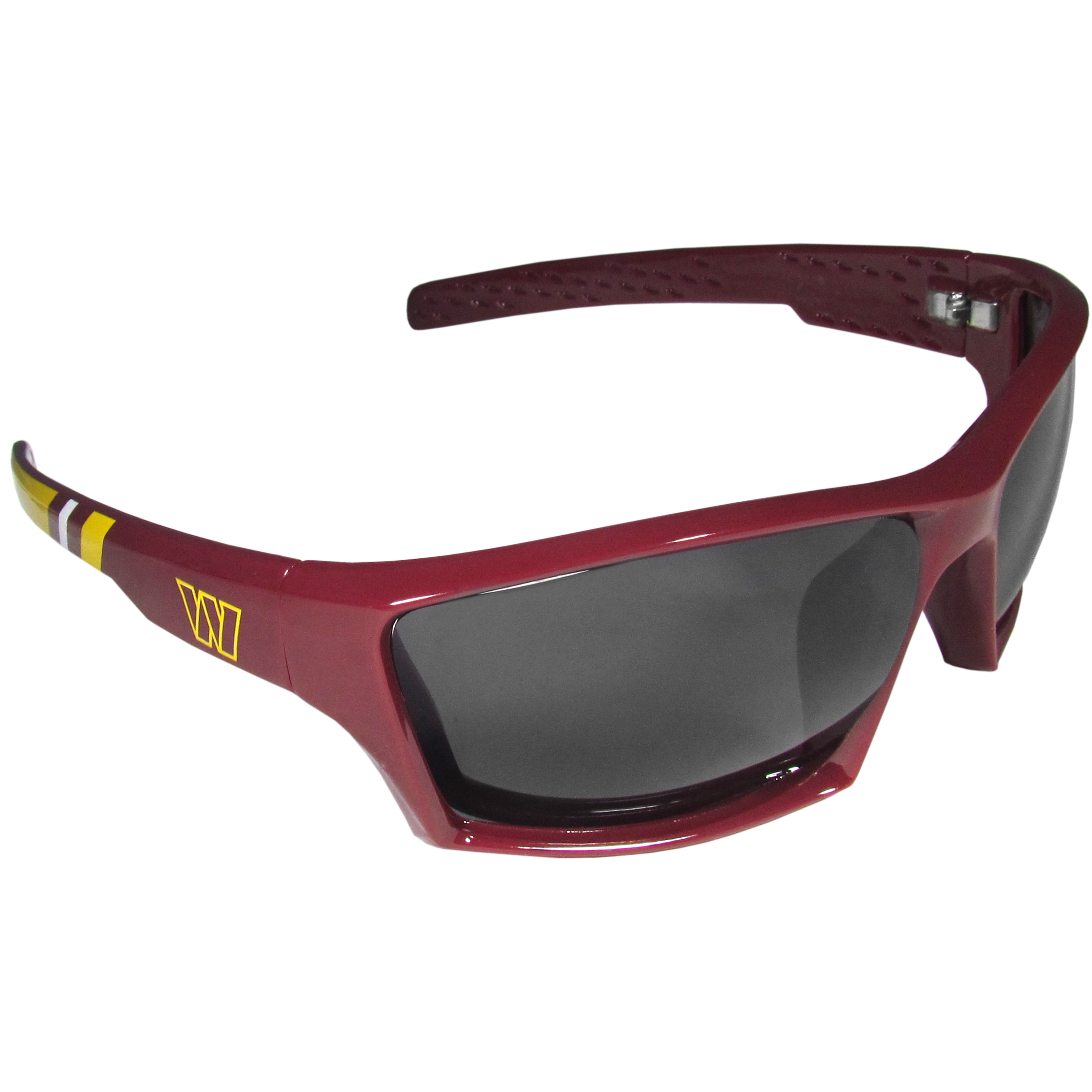 Washington Redskins Edge Wrap Sunglasses - Be an icon of edgy style while you're in the stadium cheering your Washington Redskins to victory with our polarized wrap sunglasses that feature 100% UVA/UVB rating for maximum UV protection. The light-weight frames are built to last with flex hinges for comfort and durability which make them perfect for driving or just lounging by the pool. The colorful rubber grips on the arms of these fashionable sunglasses make them perfect for someone with an active lifestyle. Whether you are hiking, fishing, boating, running on the beach, golfing or playing your favorite sport these designer frames will set you apart. Our edge wrap sunglasses are true quality eyewear at an affordable price. The wrap style frames come with team colored stripes and team logos so you can show off your die-hard team pride while protecting your eyes from those bright sun rays.