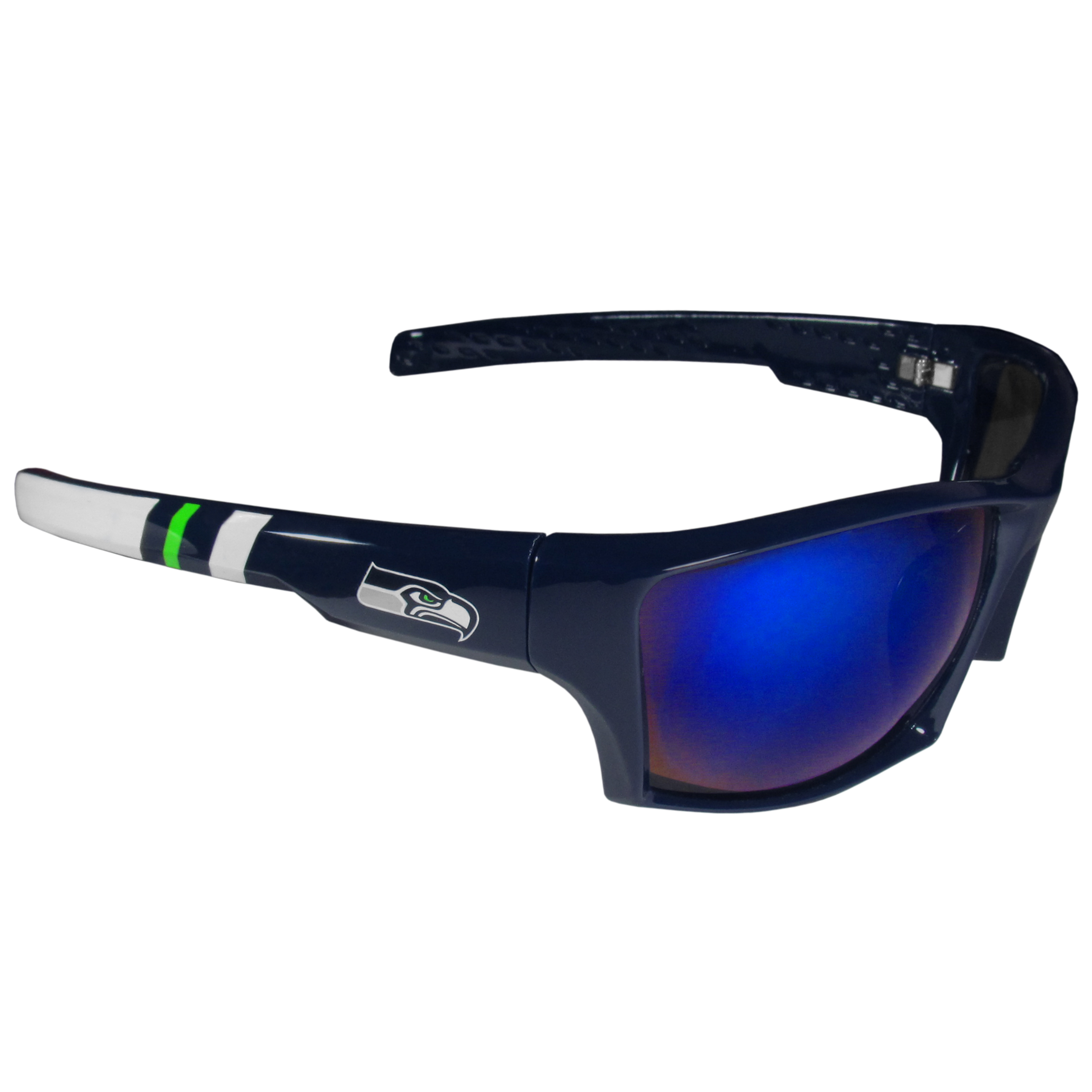 Seattle Seahawks Edge Wrap Sunglasses - Be an icon of edgy style while you're in the stadium cheering your Seattle Seahawks to victory with our polarized wrap sunglasses that feature 100% UVA/UVB rating for maximum UV protection. The light-weight frames are built to last with flex hinges for comfort and durability which make them perfect for driving or just lounging by the pool. The colorful rubber grips on the arms of these fashionable sunglasses make them perfect for someone with an active lifestyle. Whether you are hiking, fishing, boating, running on the beach, golfing or playing your favorite sport these designer frames will set you apart. Our edge wrap sunglasses are true quality eyewear at an affordable price. The wrap style frames come with team colored stripes and team logos so you can show off your die-hard team pride while protecting your eyes from those bright sun rays.