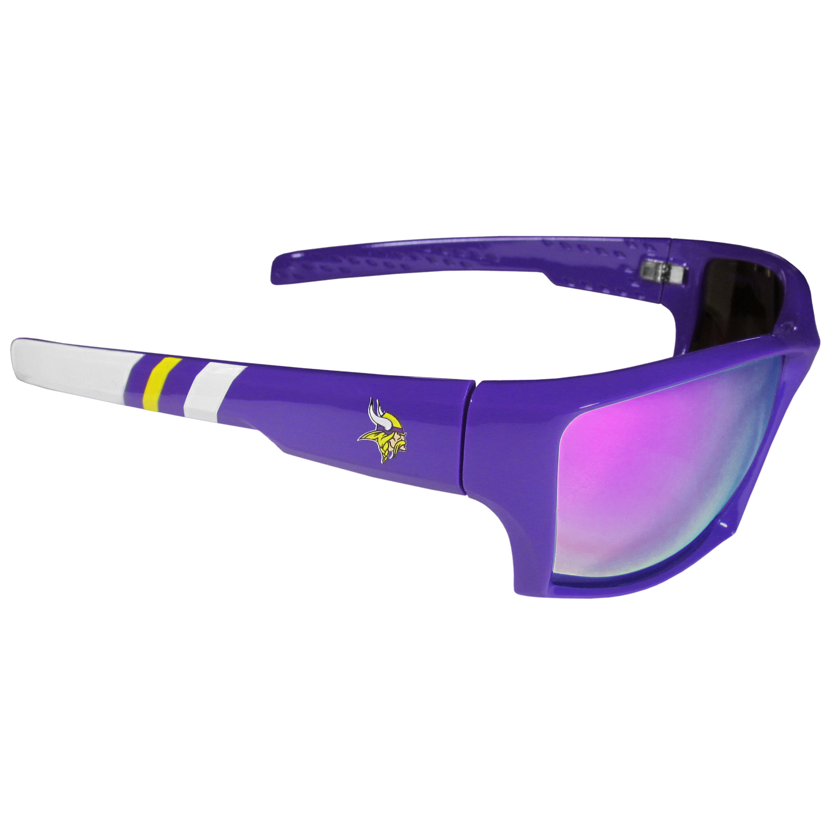 Minnesota Vikings Edge Wrap Sunglasses - Be an icon of edgy style while you're in the stadium cheering your Minnesota Vikings to victory with our polarized wrap sunglasses that feature 100% UVA/UVB rating for maximum UV protection. The light-weight frames are built to last with flex hinges for comfort and durability which make them perfect for driving or just lounging by the pool. The colorful rubber grips on the arms of these fashionable sunglasses make them perfect for someone with an active lifestyle. Whether you are hiking, fishing, boating, running on the beach, golfing or playing your favorite sport these designer frames will set you apart. Our edge wrap sunglasses are true quality eyewear at an affordable price. The wrap style frames come with team colored stripes and team logos so you can show off your die-hard team pride while protecting your eyes from those bright sun rays.