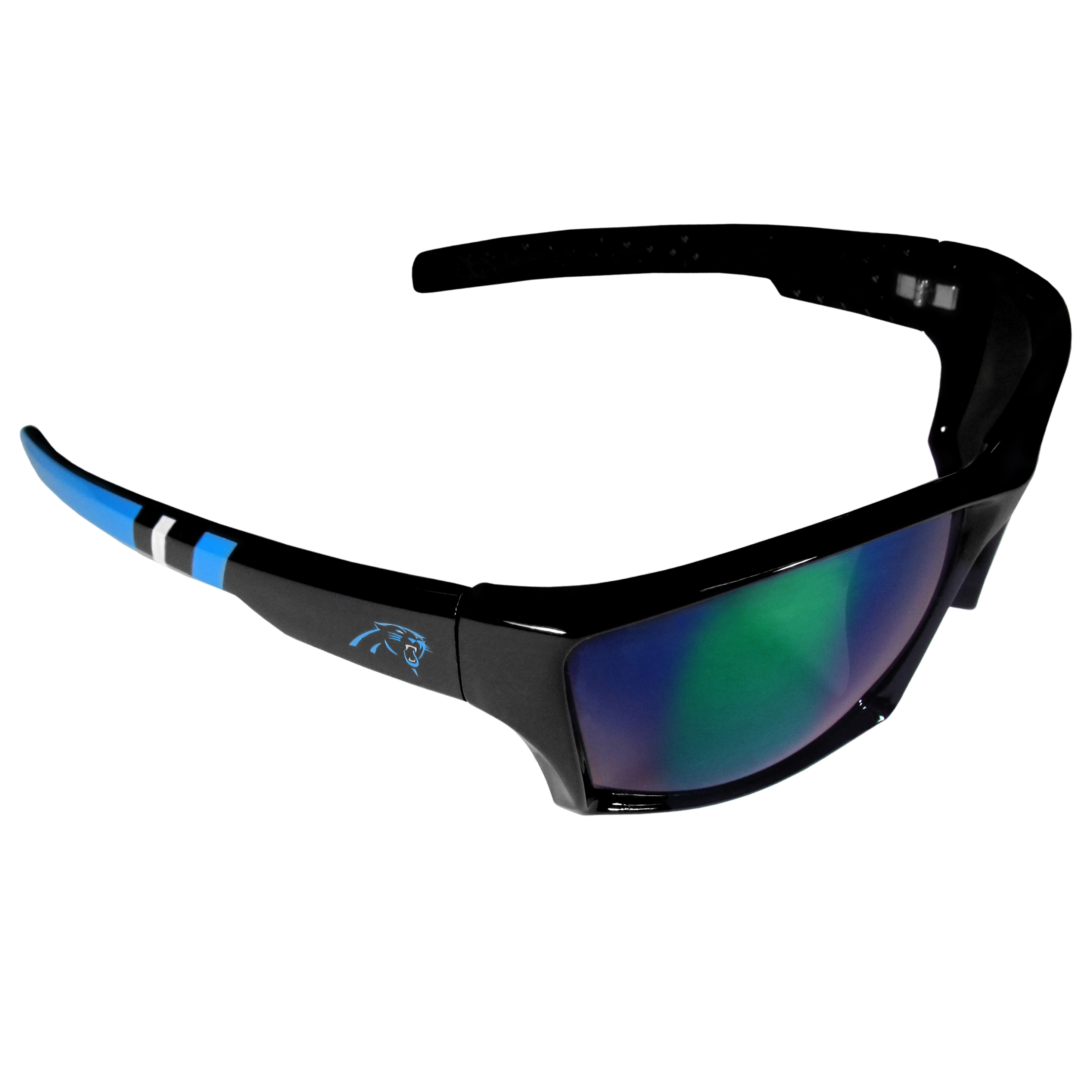 Carolina Panthers Edge Wrap Sunglasses - Be an icon of edgy style while you're in the stadium cheering your Carolina Panthers to victory with our polarized wrap sunglasses that feature 100% UVA/UVB rating for maximum UV protection. The light-weight frames are built to last with flex hinges for comfort and durability which make them perfect for driving or just lounging by the pool. The colorful rubber grips on the arms of these fashionable sunglasses make them perfect for someone with an active lifestyle. Whether you are hiking, fishing, boating, running on the beach, golfing or playing your favorite sport these designer frames will set you apart. Our edge wrap sunglasses are true quality eyewear at an affordable price. The wrap style frames come with team colored stripes and team logos so you can show off your die-hard team pride while protecting your eyes from those bright sun rays.
