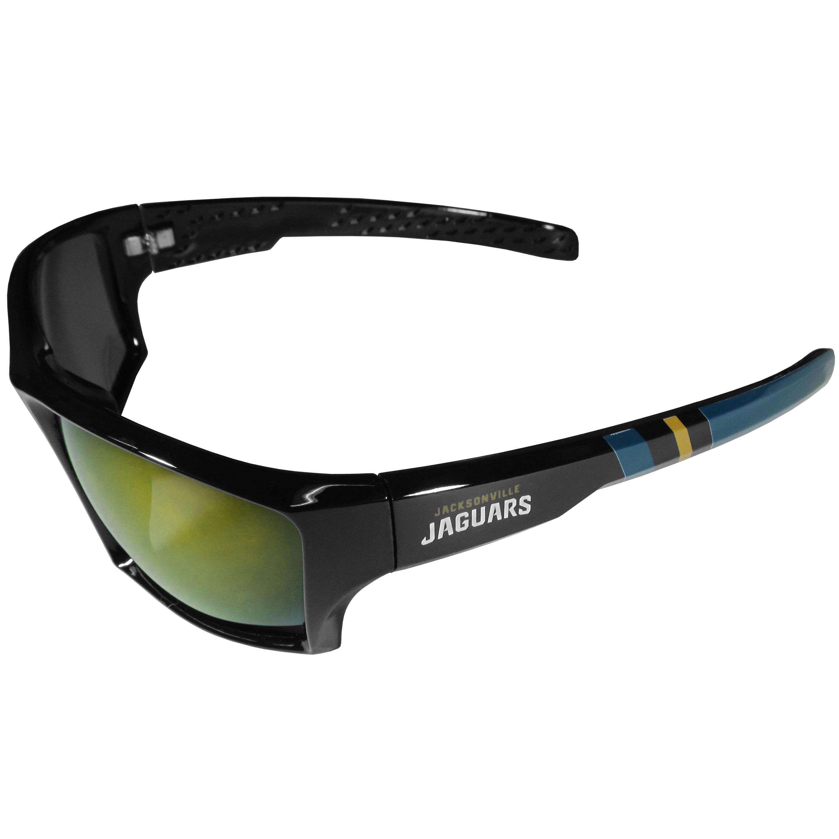 Jacksonville Jaguars Edge Wrap Sunglasses - Be an icon of edgy style while you're in the stadium cheering your Jacksonville Jaguars to victory with our polarized wrap sunglasses that feature 100% UVA/UVB rating for maximum UV protection. The light-weight frames are built to last with flex hinges for comfort and durability which make them perfect for driving or just lounging by the pool. The colorful rubber grips on the arms of these fashionable sunglasses make them perfect for someone with an active lifestyle. Whether you are hiking, fishing, boating, running on the beach, golfing or playing your favorite sport these designer frames will set you apart. Our edge wrap sunglasses are true quality eyewear at an affordable price. The wrap style frames come with team colored stripes and team logos so you can show off your die-hard team pride while protecting your eyes from those bright sun rays.